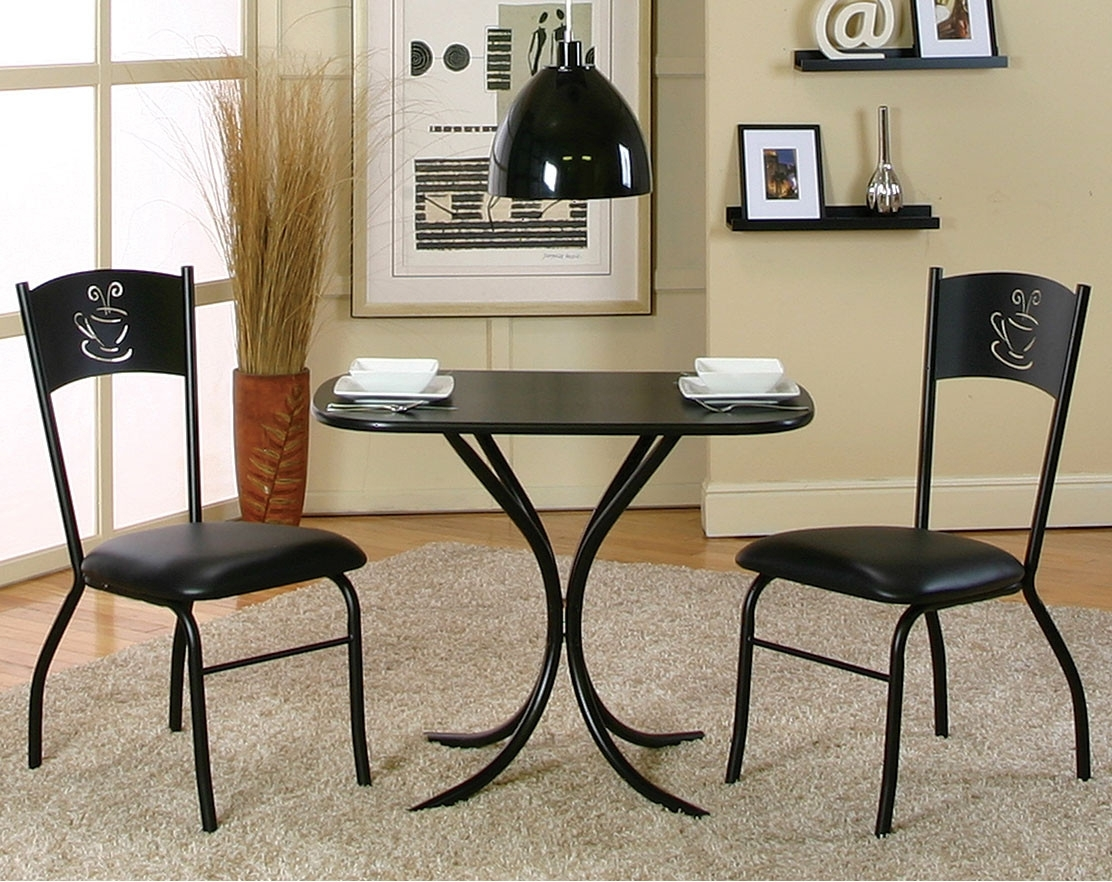 Black Counter Height Table Set With Coffee Cutout Detail | American Throughout Current Valencia 3 Piece Counter Sets With Bench (View 6 of 20)