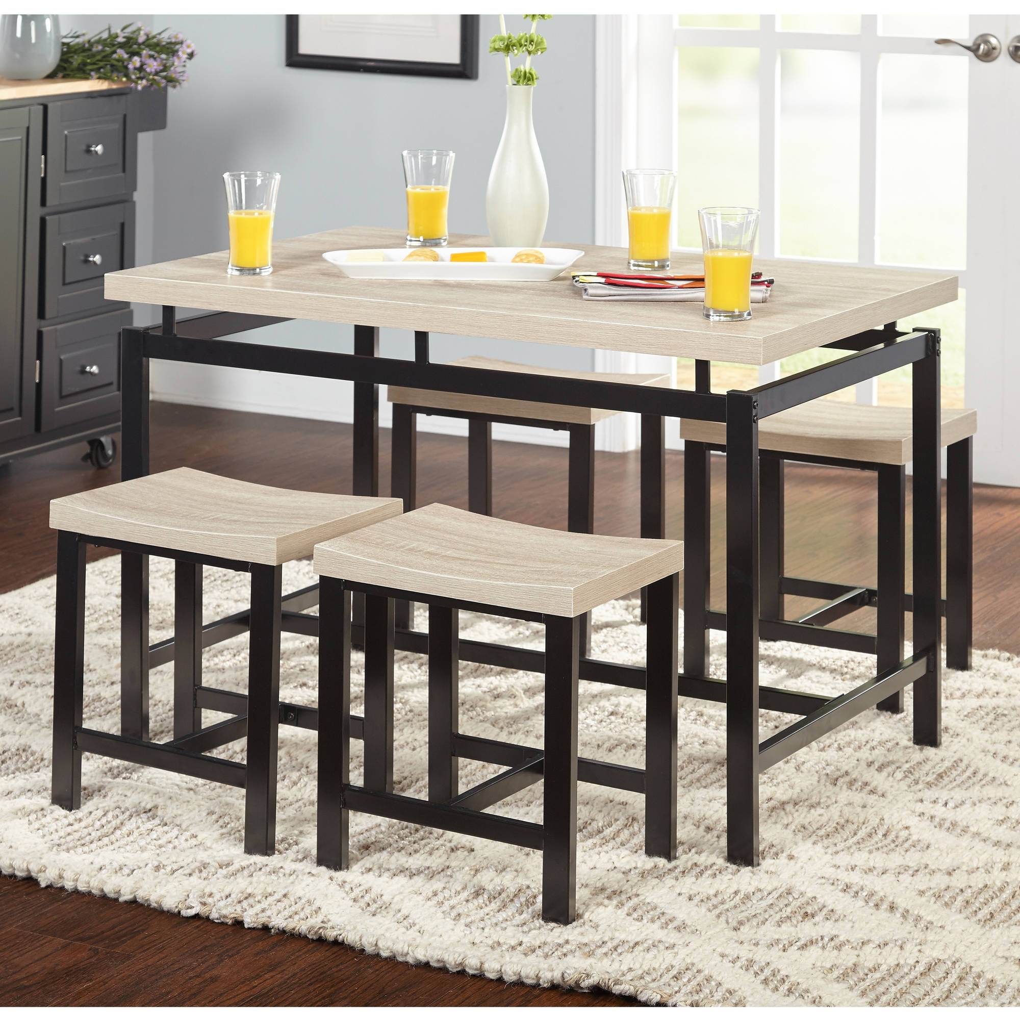 Black Wood Dining Set Contemporary 5 Piece Delano Natural Walmart Inside Most Recent Macie 5 Piece Round Dining Sets (View 20 of 20)