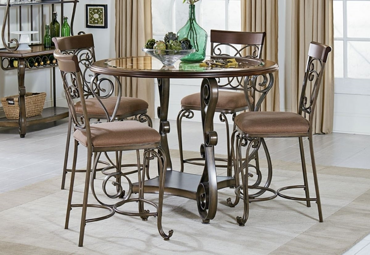 Bombay 5 Pc Counter Height Dining Room | Badcock & More Inside Newest Valencia 5 Piece Round Dining Sets With Uph Seat Side Chairs (Image 6 of 20)