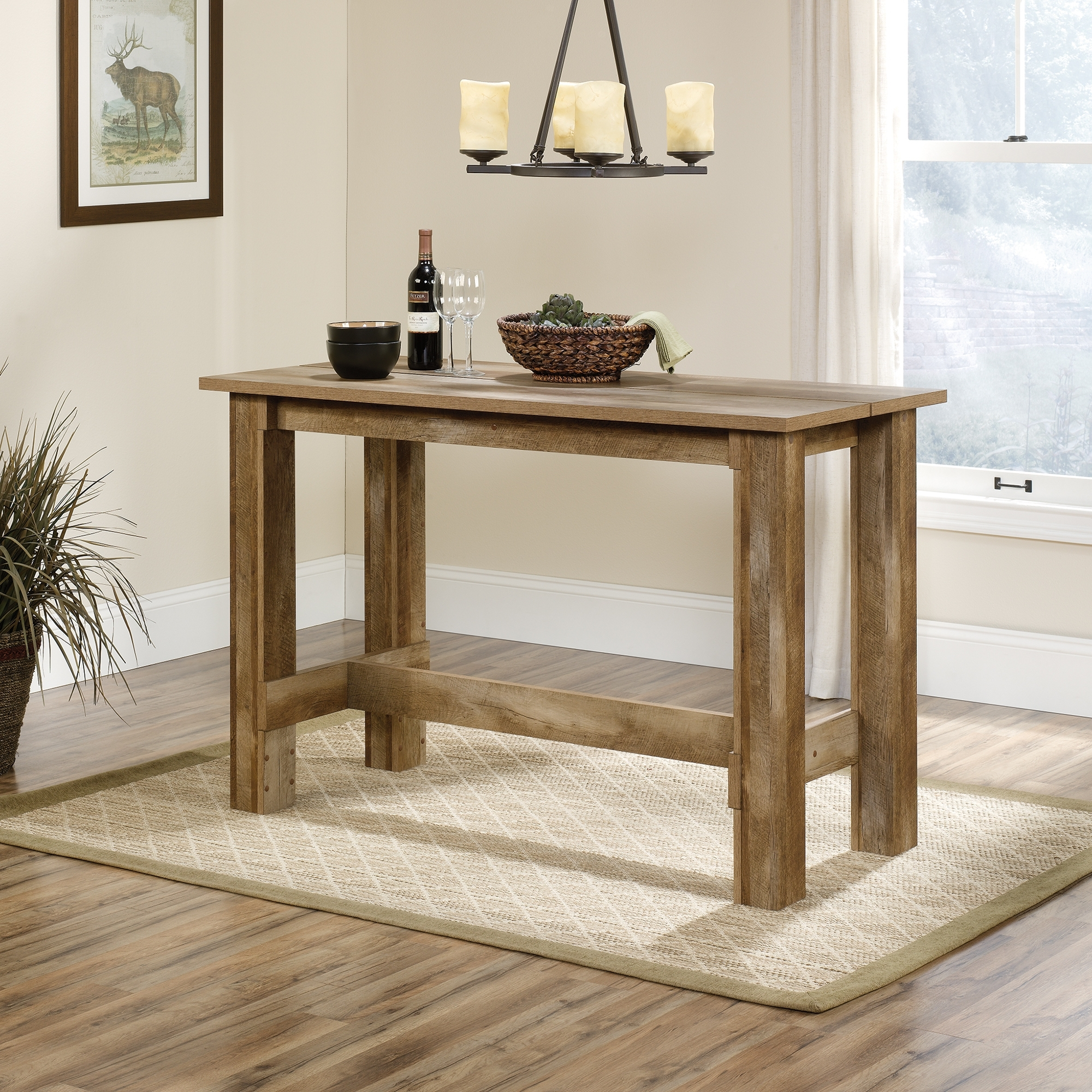 Boone Mountain Counter  Height Dinette Table (416698) – Sauder With Most Popular Craftsman Rectangle Extension Dining Tables (Image 4 of 20)