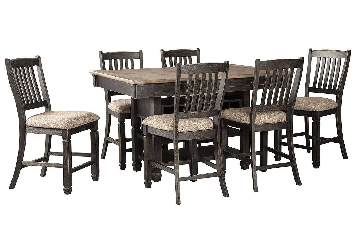 Bordelon's Home Furnishings Tyler Creek Black/grayish Brown 7 Piece In Best And Newest Craftsman 5 Piece Round Dining Sets With Side Chairs (Image 3 of 20)