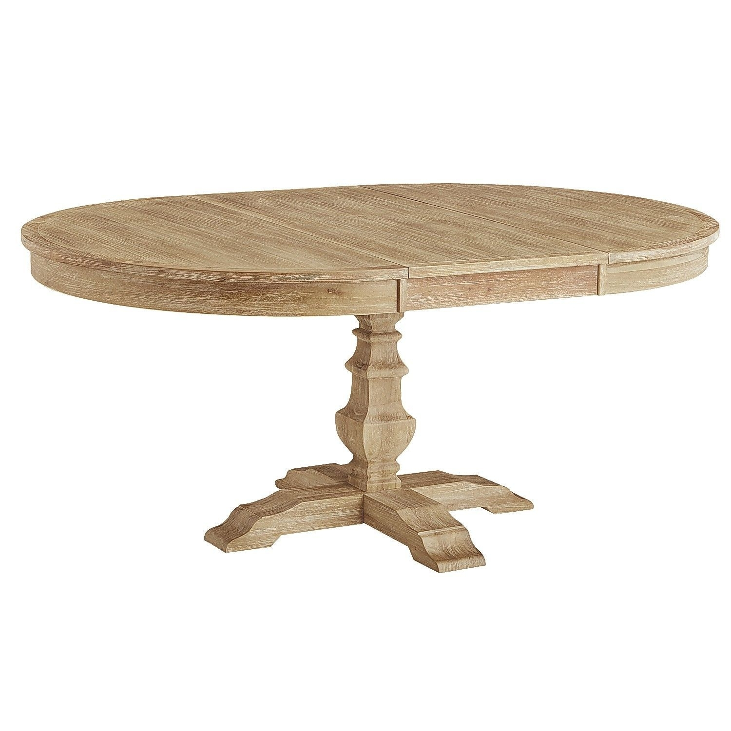 Bradding Natural Stonewash Round Extension Dining Table | Oval Within Most Current Caden Round Dining Tables (View 13 of 20)