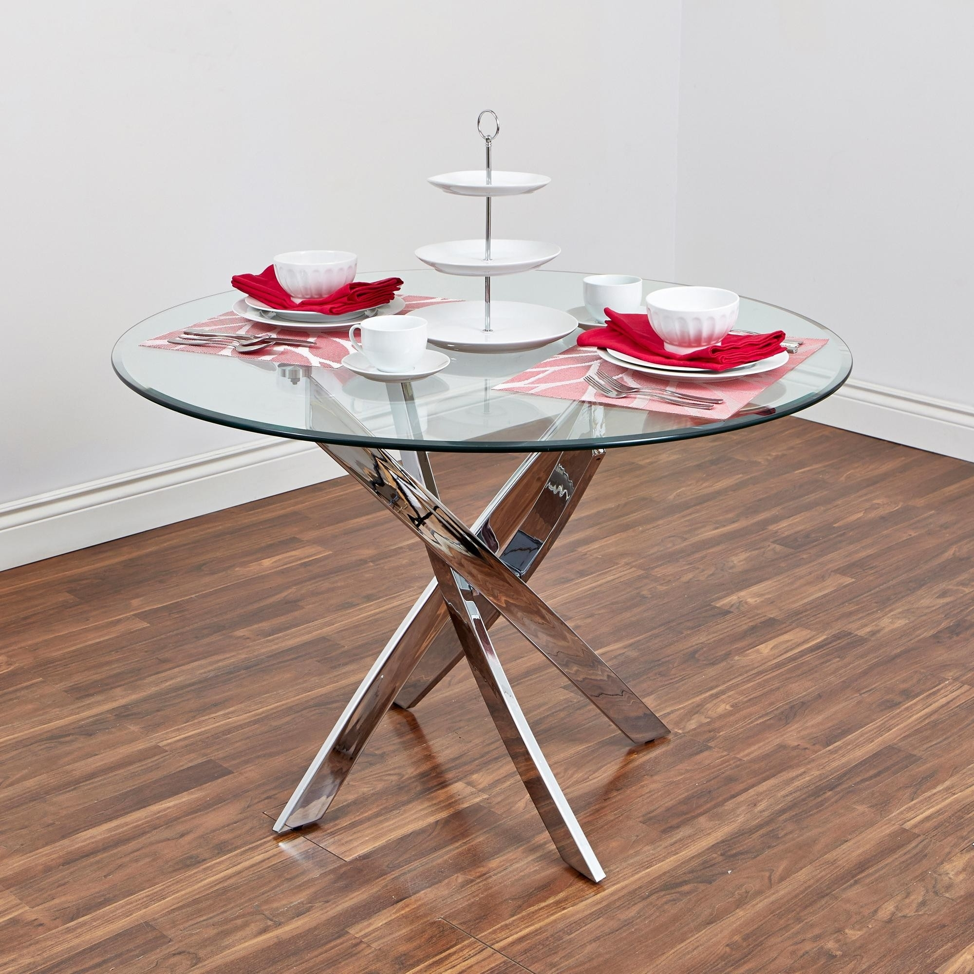Bradford Carol Glass Dining Table (Clear/silver) | Kitchen Stuff Plus Regarding Most Current Bradford Dining Tables (View 14 of 20)