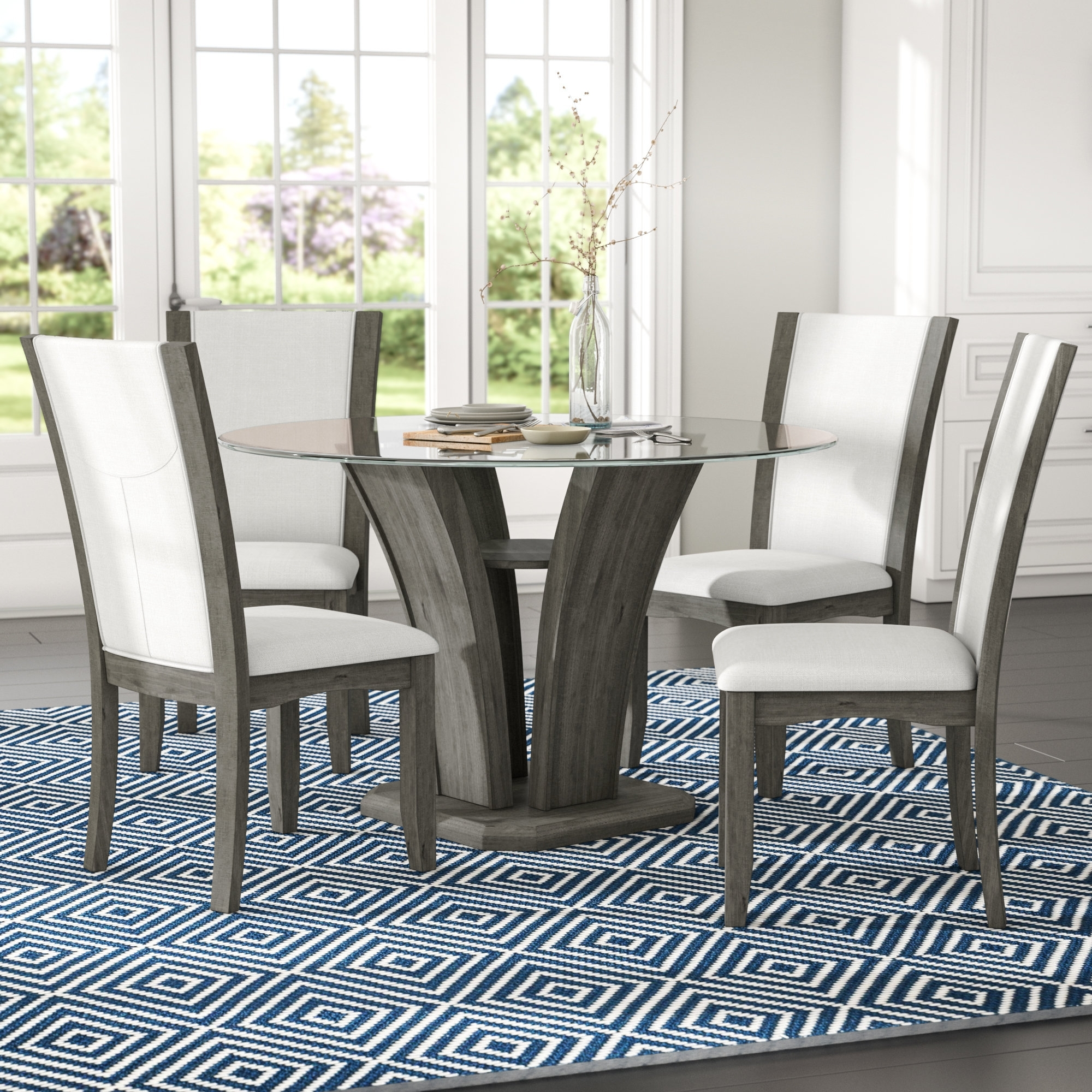Brayden Studio Kangas 5 Piece Glass Top Dining Set & Reviews | Wayfair Throughout Most Recent Laurent 5 Piece Round Dining Sets With Wood Chairs (Image 6 of 20)