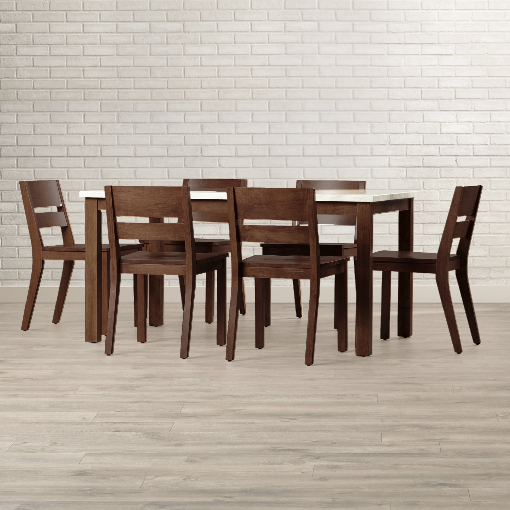 Brayden Studio Losey 7 Piece Dining Set & Reviews | Wayfair With Most Current Candice Ii 5 Piece Round Dining Sets With Slat Back Side Chairs (View 14 of 20)