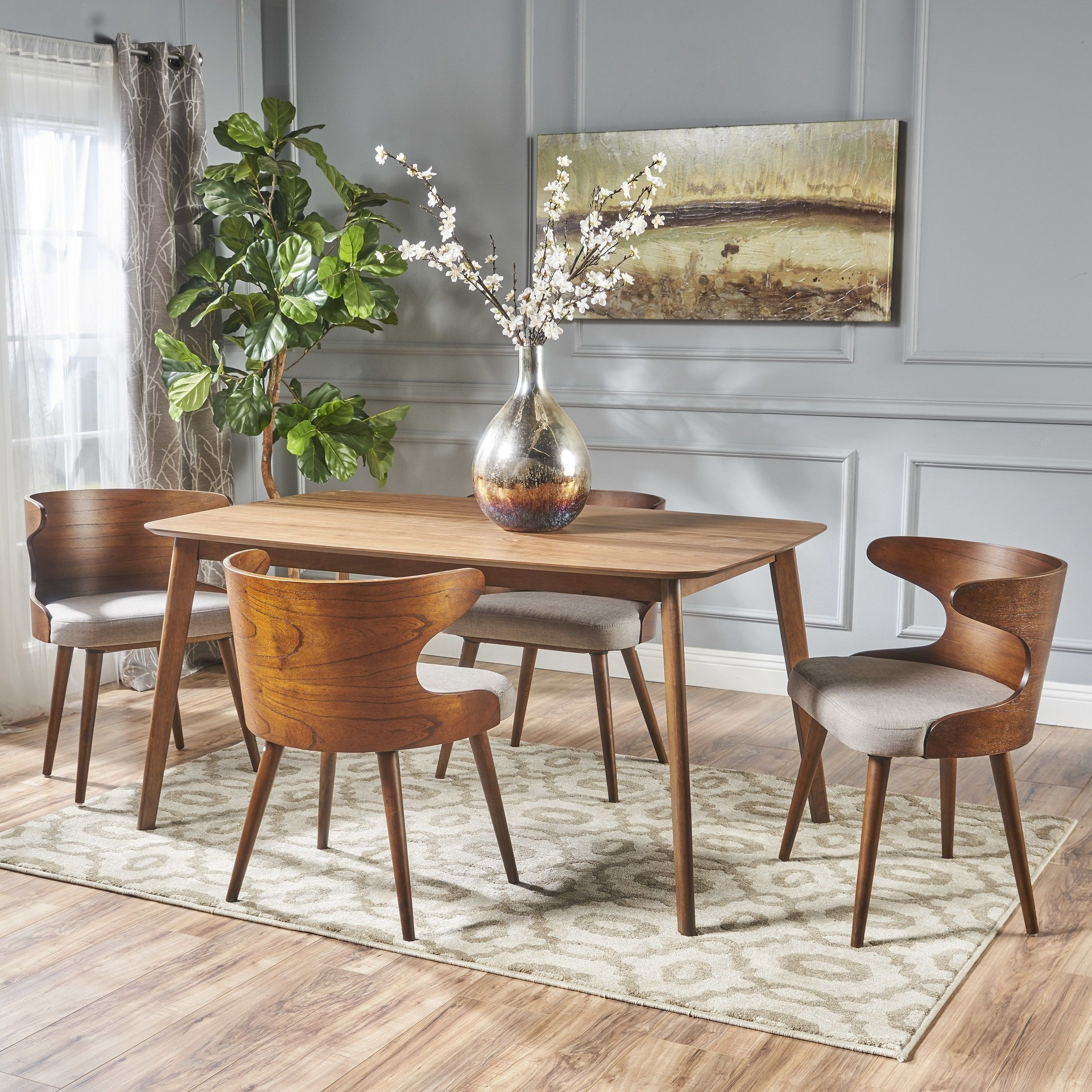 Briella Mid Century 5 Piece Rectangular Wood Dining Set Within Most Current Palazzo 6 Piece Rectangle Dining Sets With Joss Side Chairs (Image 2 of 20)