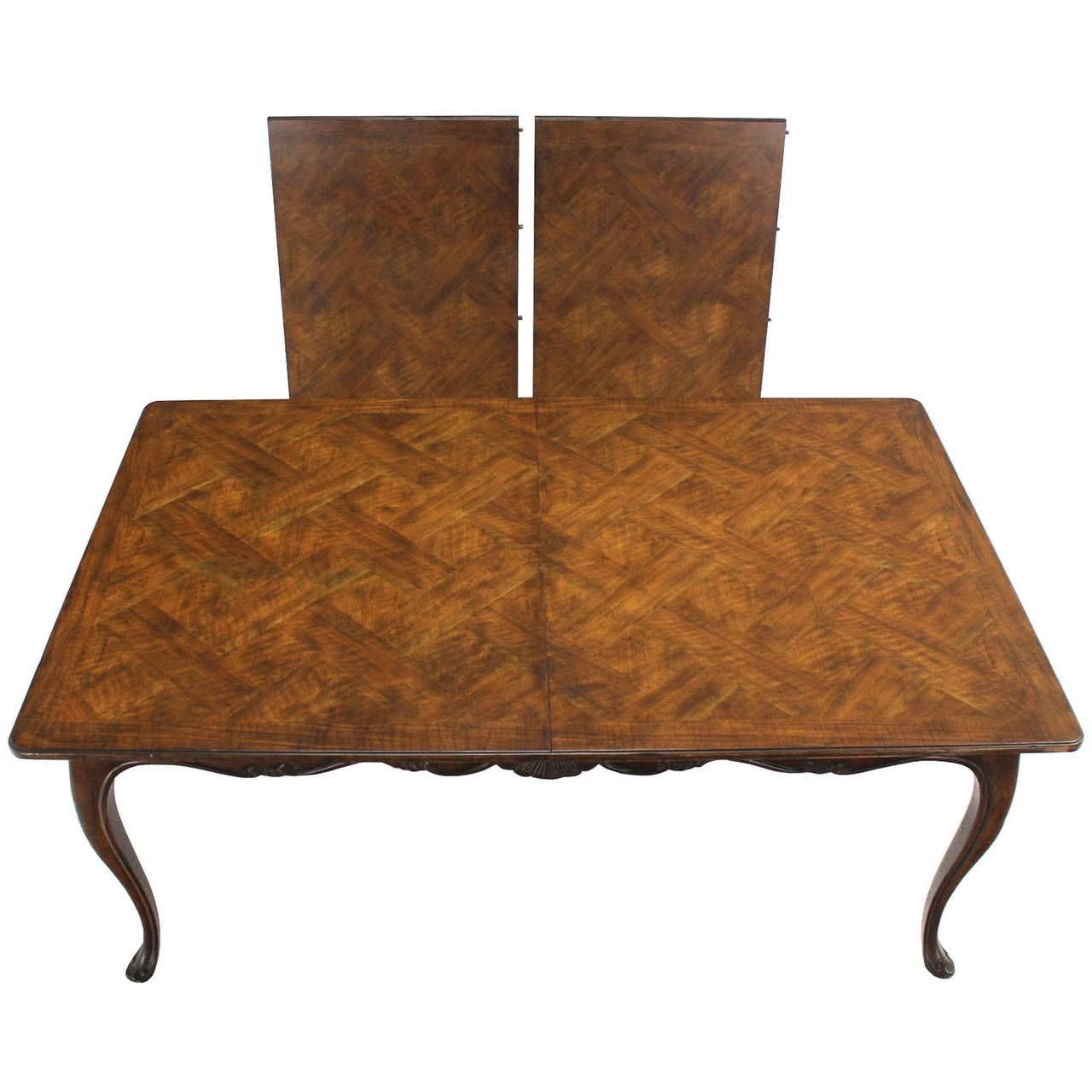 Burwood Walnut Dining Tableheritage W/ One Extension Leaf With Regard To Most Popular Parquet Dining Tables (Image 5 of 20)