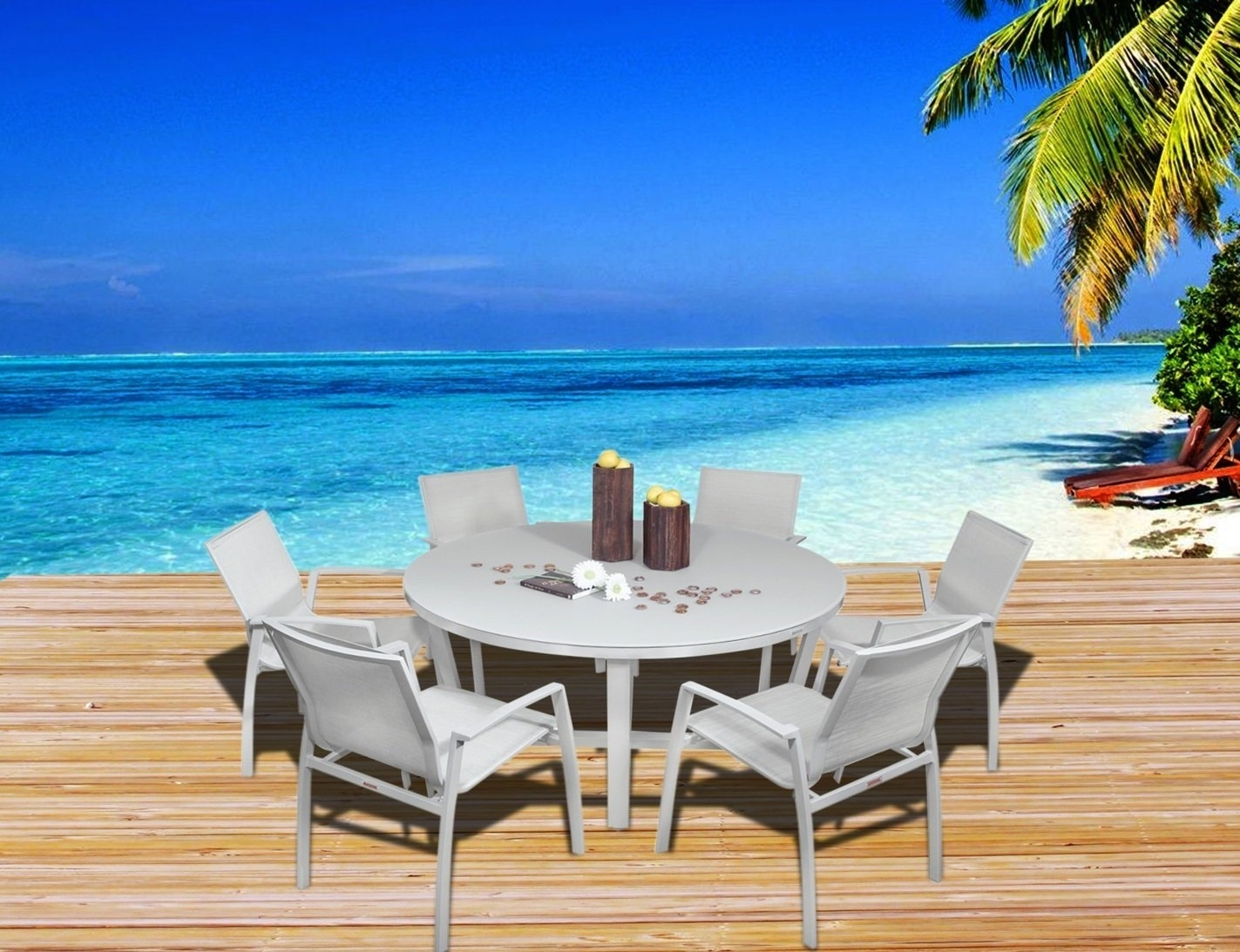 Buy Outdoor Patio Furniture New Aluminum Gray Frosted Glass 7 Piece Inside Most Popular Grady 5 Piece Round Dining Sets (Image 4 of 20)
