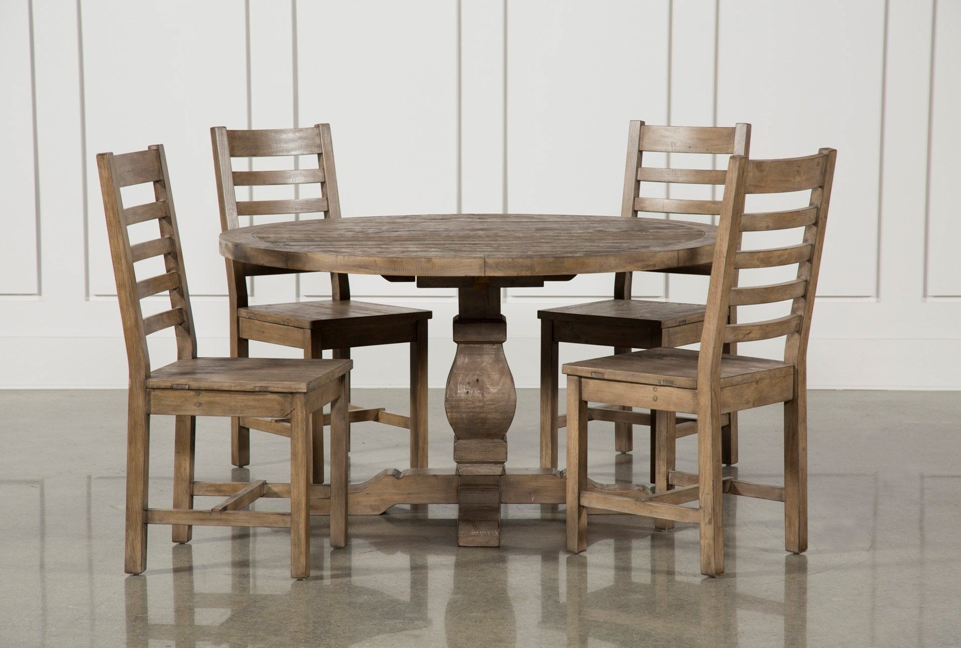Caden 5 Piece Round Dining Set, Natural | Round Dining Set, Round For 2018 Chandler 7 Piece Extension Dining Sets With Wood Side Chairs (Image 4 of 20)
