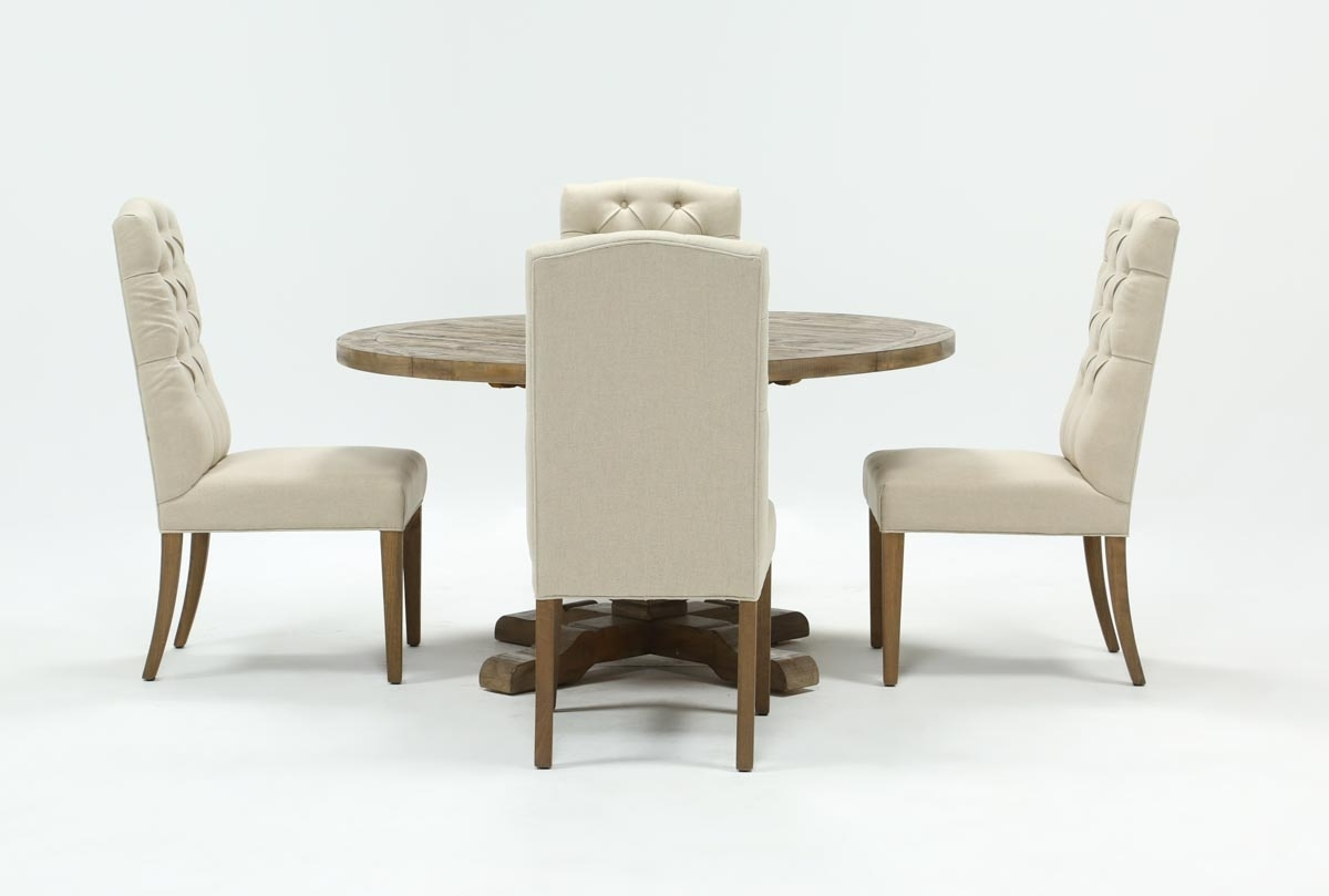 Caden 5 Piece Round Dining Set With Upholstered Side Chairs | Living Inside Best And Newest Caden 6 Piece Dining Sets With Upholstered Side Chair (Photo 7 of 20)