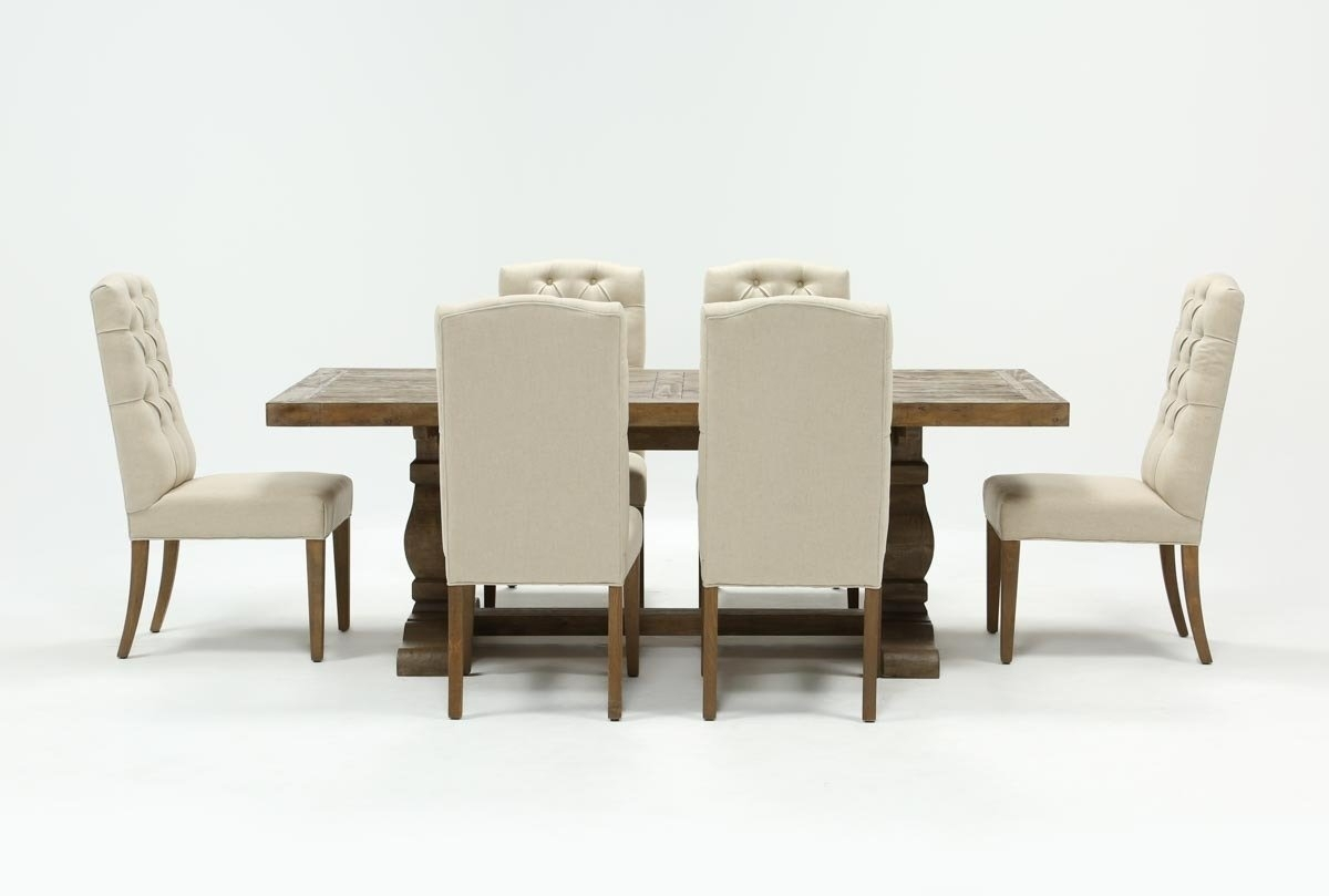 Caden 7 Piece Dining Set With Upholstered Side Chair | Living Spaces Intended For Recent Gavin 6 Piece Dining Sets With Clint Side Chairs (Image 3 of 20)