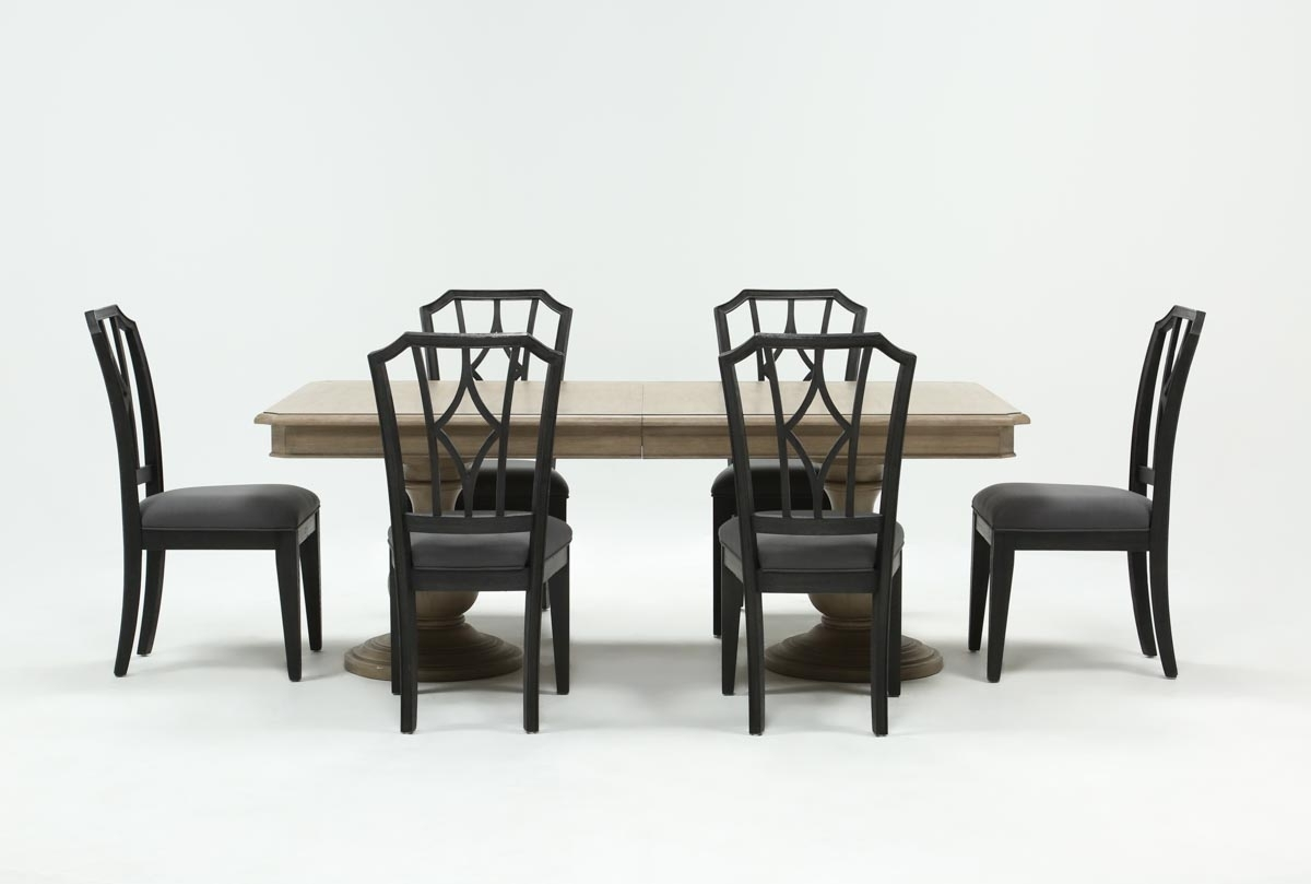 Featured Image of Caira 7 Piece Rectangular Dining Sets With Upholstered Side Chairs