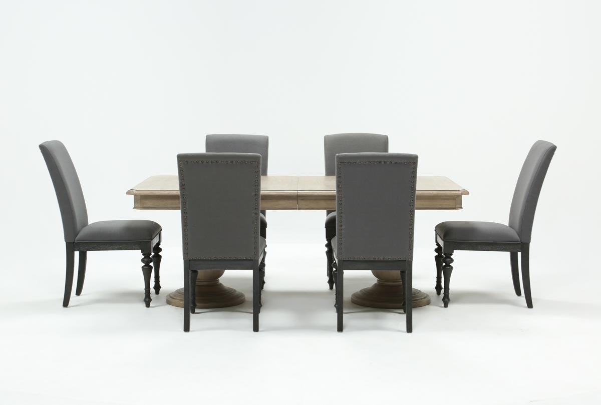 Caira 7 Piece Rectangular Dining Set With Upholstered Side Chairs Pertaining To Most Recent Palazzo 7 Piece Dining Sets With Mindy Slipcovered Side Chairs (Image 2 of 20)