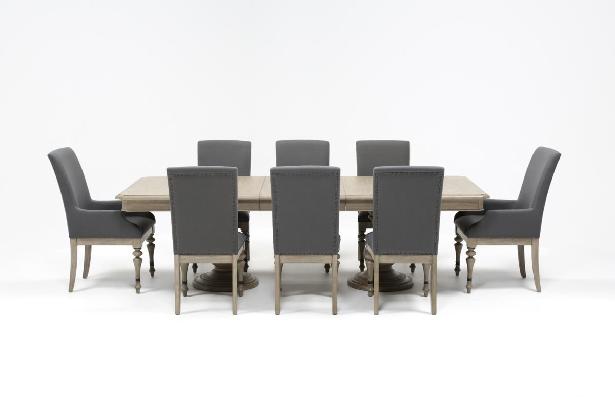 Caira 9 Piece Extension Dining Set | Living Spaces With Regard To Most Recent Caira Extension Pedestal Dining Tables (Photo 2 of 20)