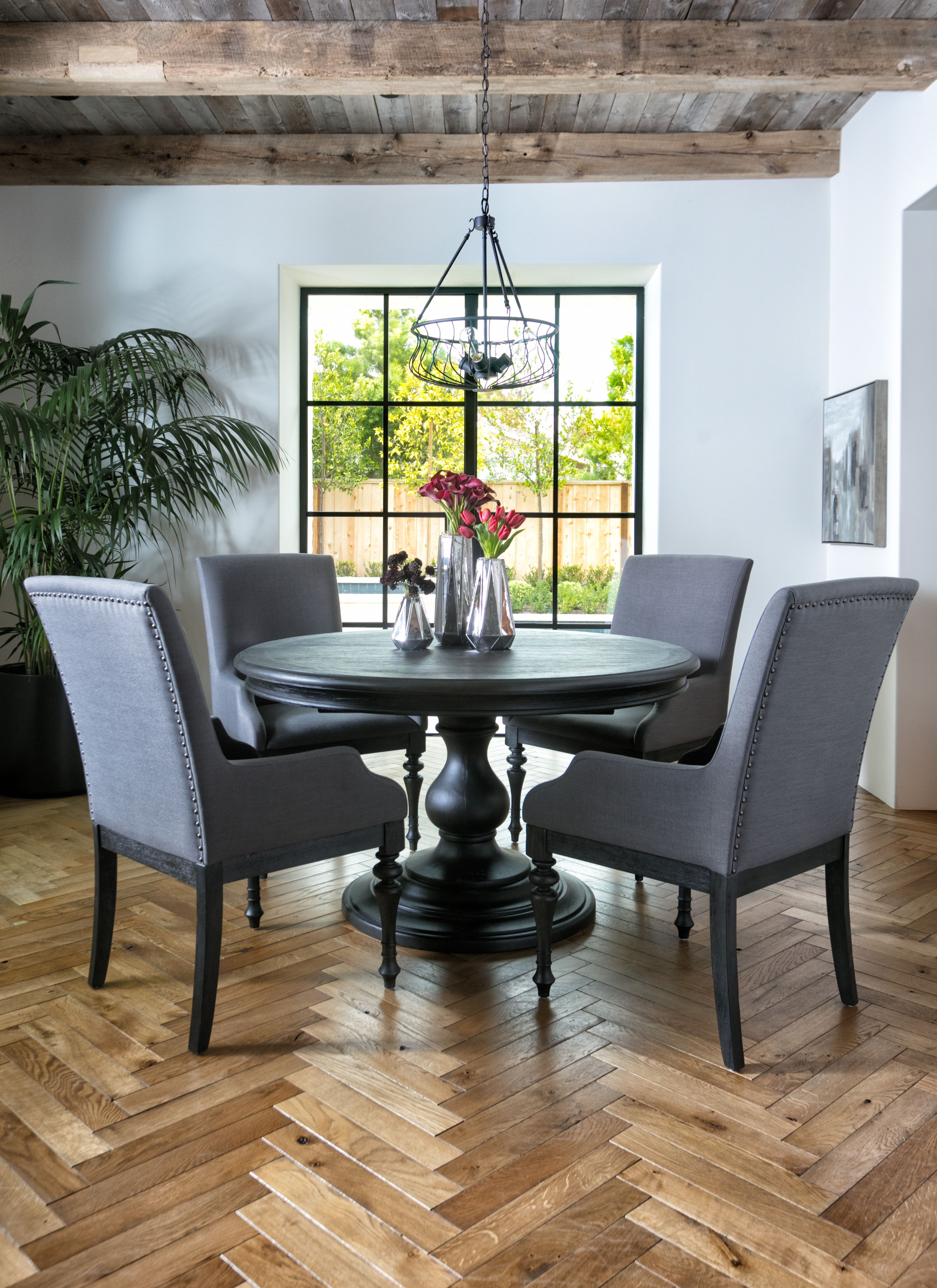 Caira Black 5 Piece Round Dining Set With Diamond Back Side Chairs Within Newest Caira Extension Pedestal Dining Tables (Image 3 of 20)