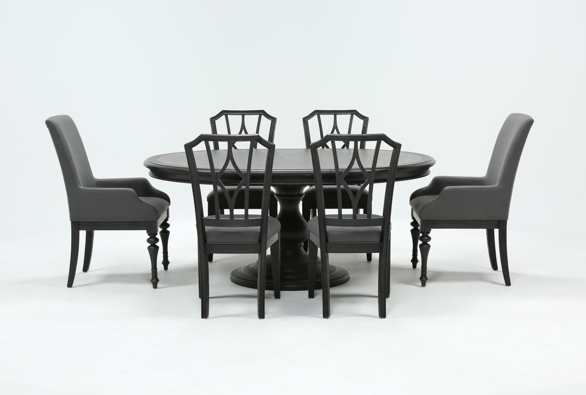 Caira Black 7 Piece Dining Set W/arm Chairs & Diamond Back Chairs In Most Recent Caira Black 5 Piece Round Dining Sets With Upholstered Side Chairs (Image 9 of 20)