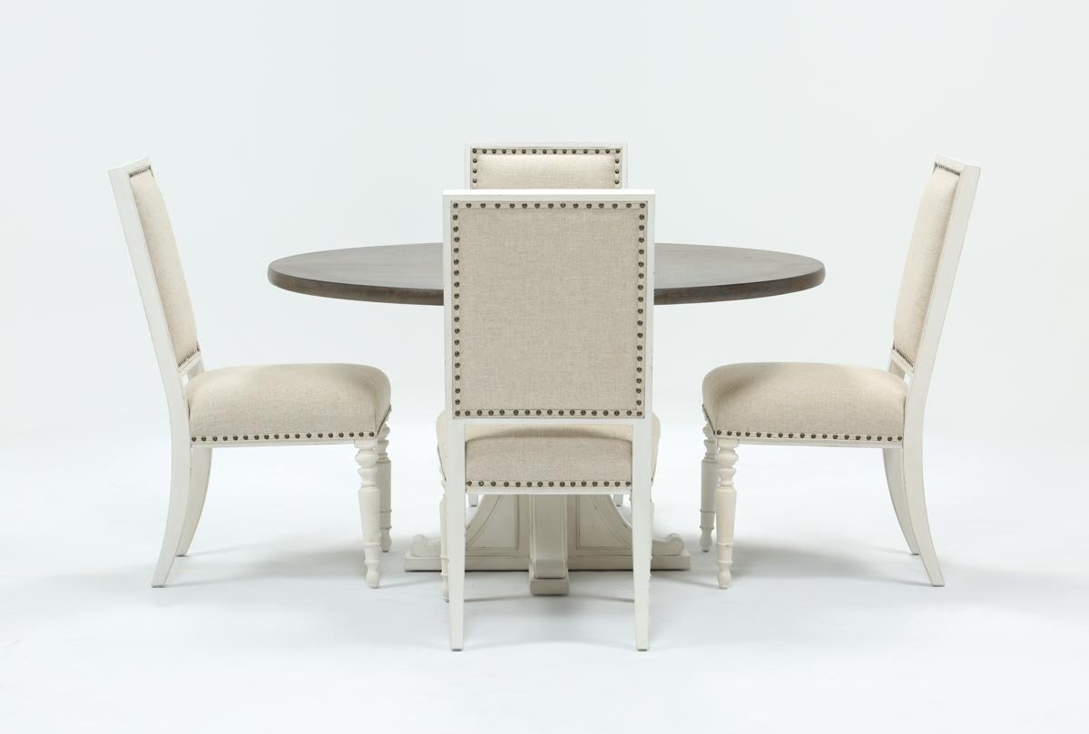 Candice Ii 5 Piece Round Dining Set | Living Spaces Throughout Most Recently Released Combs 5 Piece Dining Sets With Mindy Slipcovered Chairs (Photo 8 of 20)