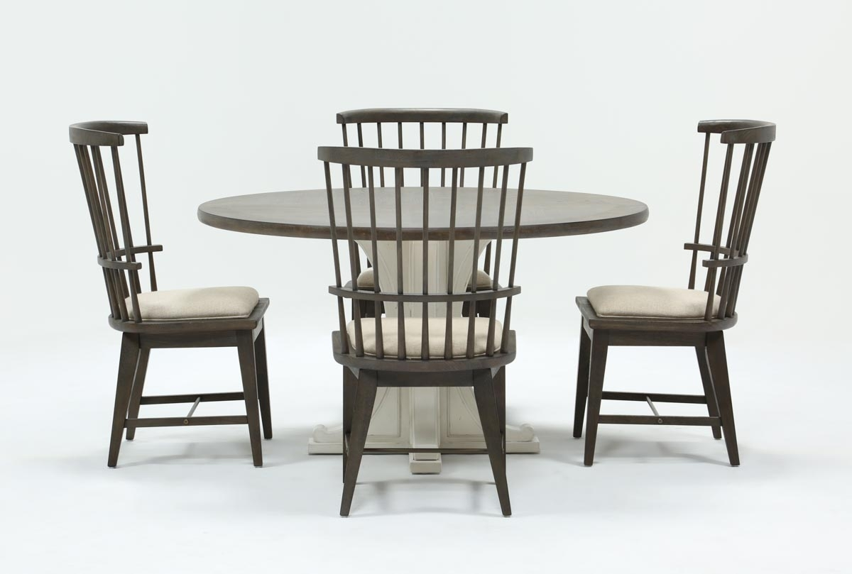 Candice Ii 5 Piece Round Dining Set With Slat Back Side Chairs Inside Latest Candice Ii 5 Piece Round Dining Sets (Photo 2 of 20)