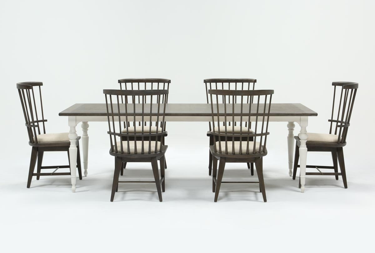Candice Ii 7 Piece Extension Rectangular Dining Set With Slat Back Pertaining To Most Current Candice Ii Round Dining Tables (Image 9 of 20)