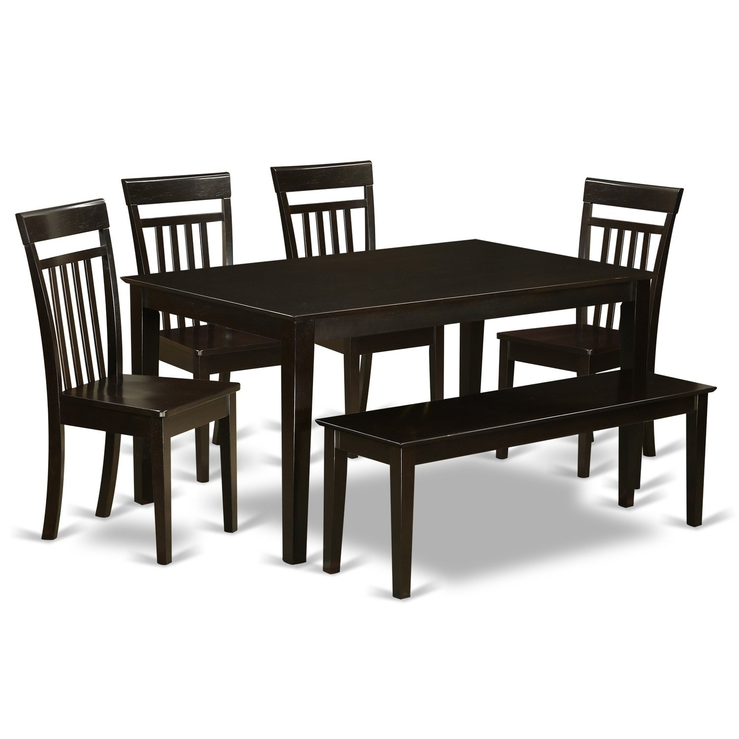 Cap6S Cap 6 Pc Dining Set  Table And 4 Kitchen Chairs Plus A Bench Within Most Current Caden 6 Piece Rectangle Dining Sets (Photo 10 of 20)