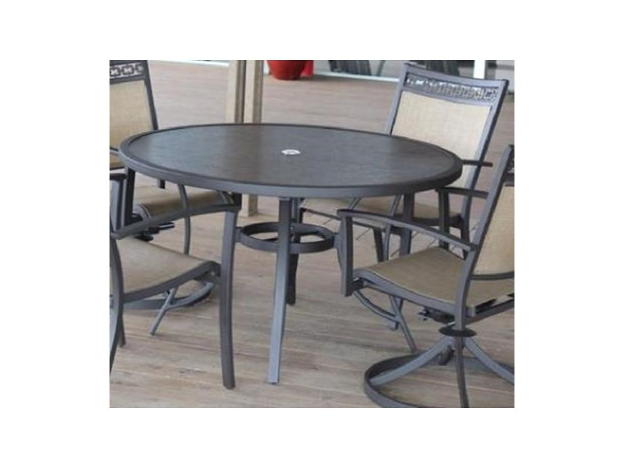 Carmadelia Outdoor 5 Piece Round Dining Set In Tan/brown For Latest Grady 5 Piece Round Dining Sets (Image 6 of 20)