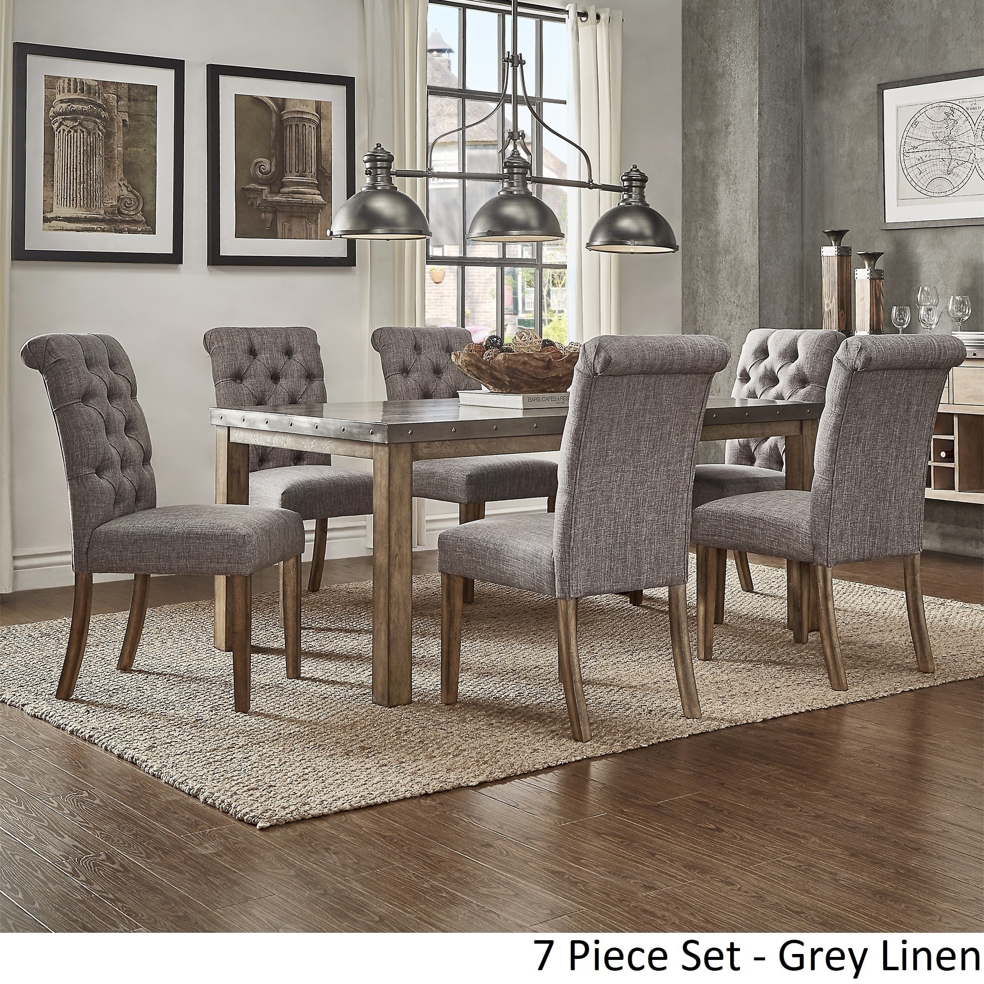 Cassidy Stainless Steel Top Rectangle Dining Table Setinspire Q With Newest Laurent 7 Piece Rectangle Dining Sets With Wood And Host Chairs (Image 7 of 20)