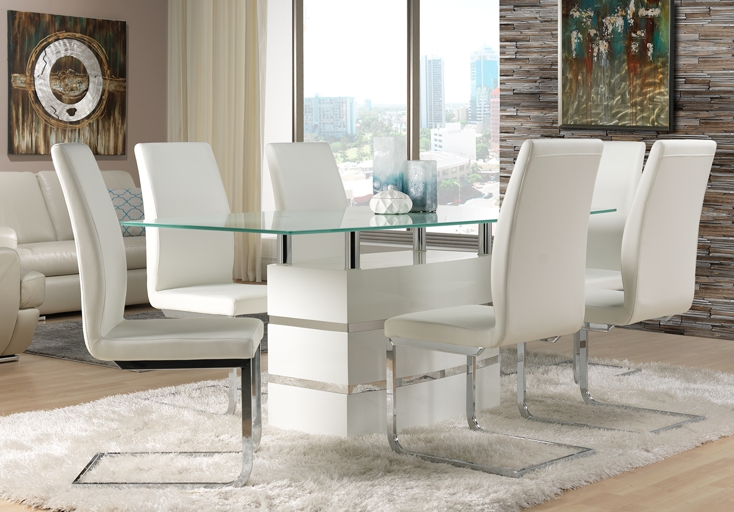 Chair Fabulous Glass Dining Table And White Leather Dining Chair Pertaining To Most Popular Leon Dining Tables (Image 1 of 20)