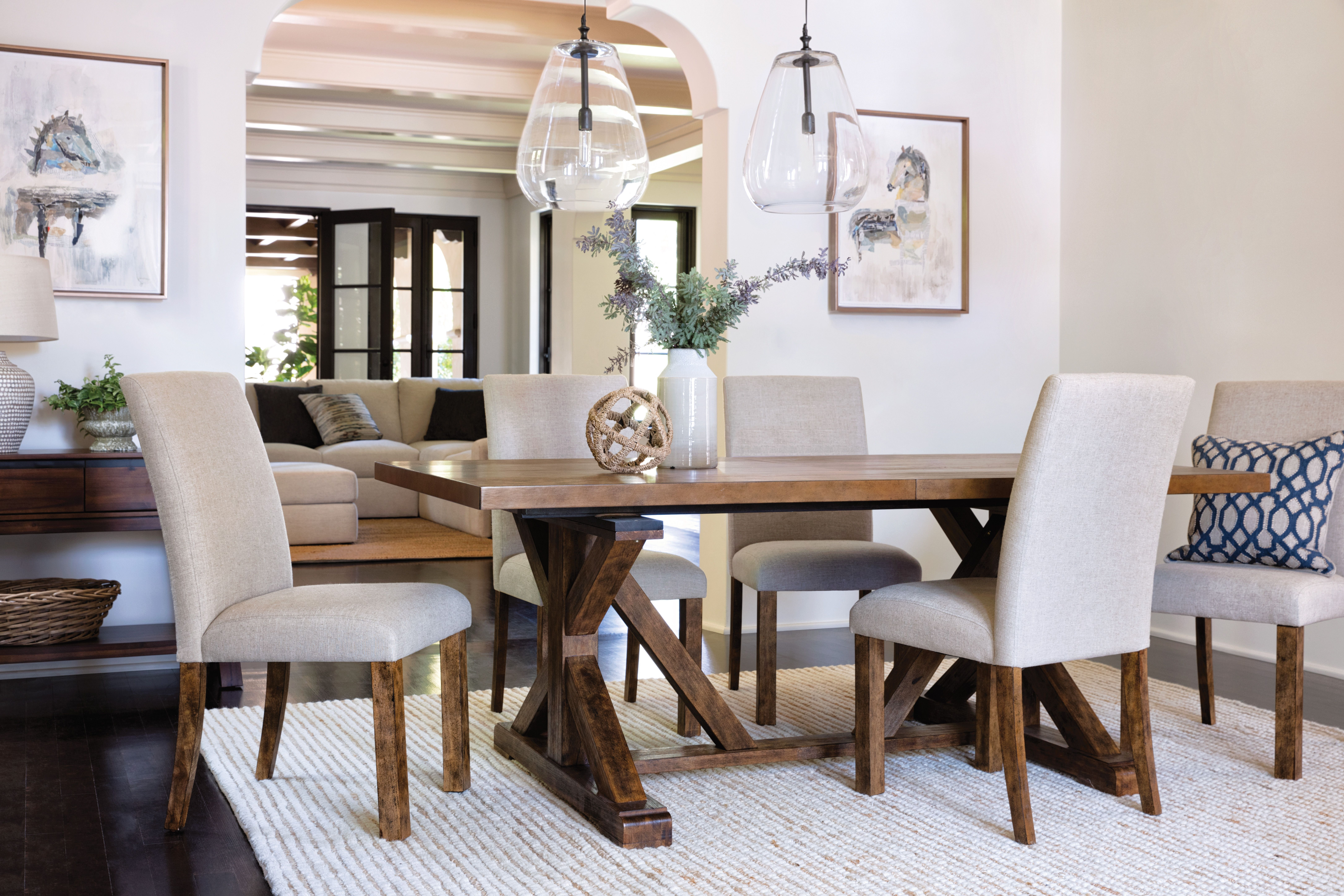 Chandler 7 Piece Extension Dining Set W/fabric Side Chairs | Casual Within Recent Chandler Extension Dining Tables (Image 5 of 20)