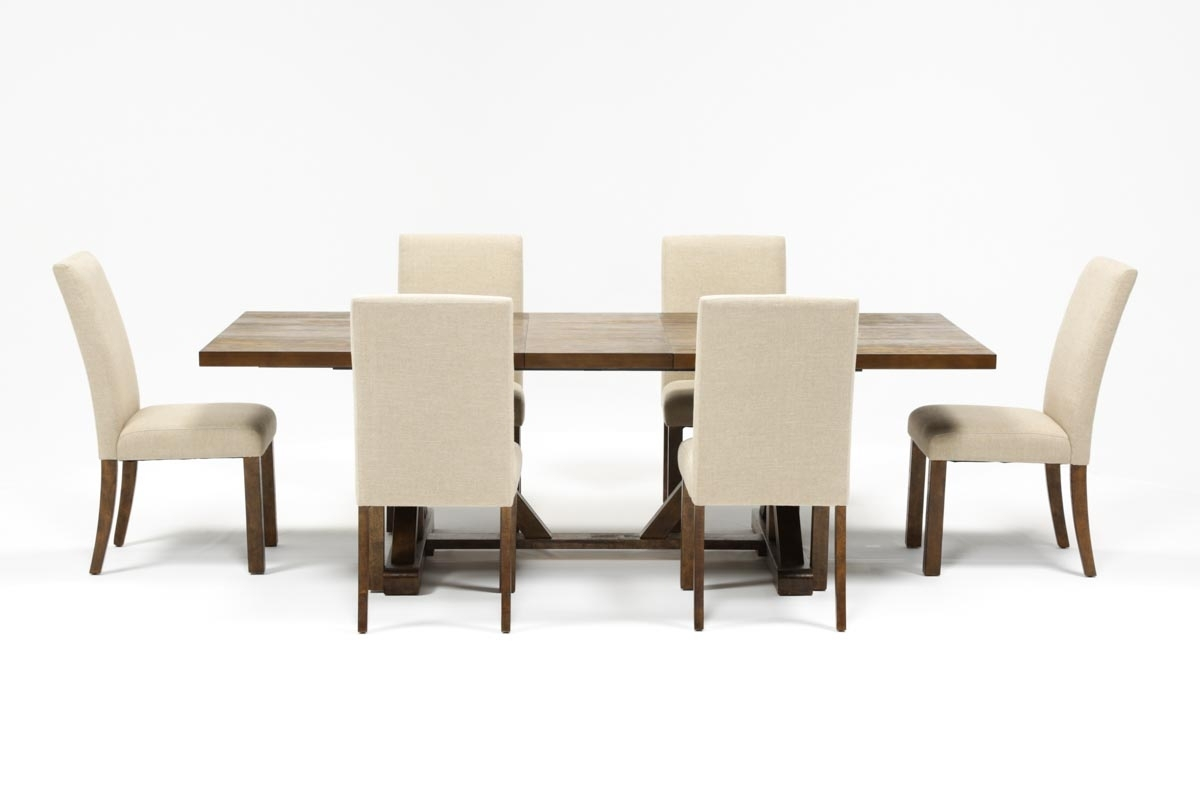 Chandler 7 Piece Extension Dining Set W/fabric Side Chairs | Living In Recent Chandler 7 Piece Extension Dining Sets With Wood Side Chairs (Image 6 of 20)