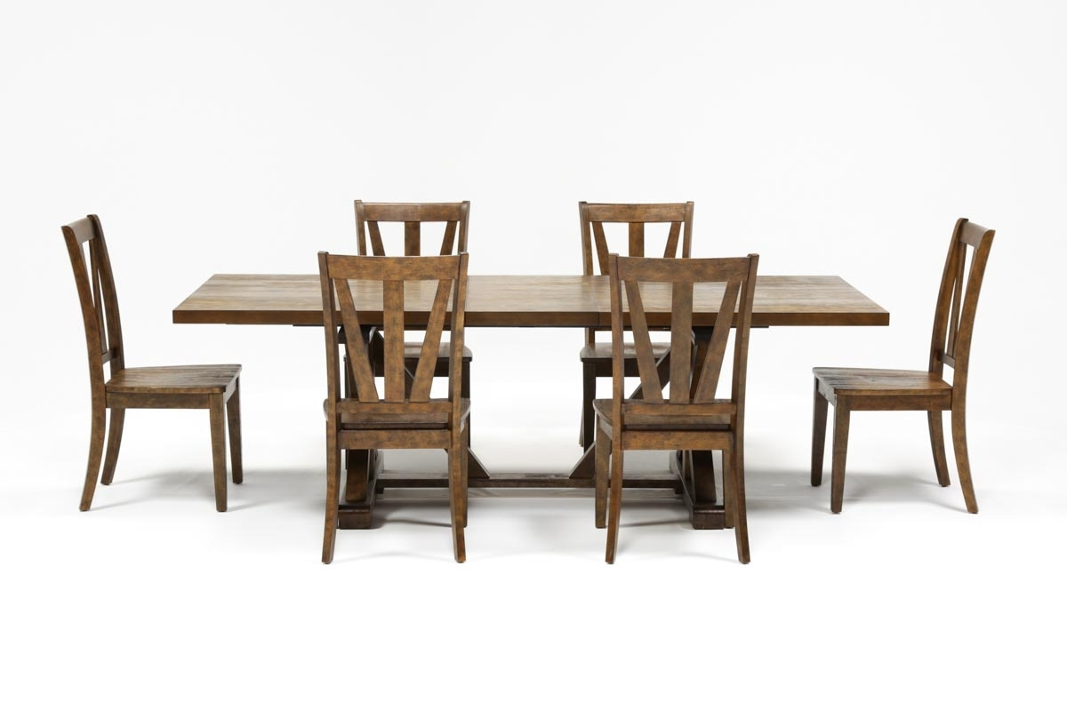Chandler 7 Piece Extension Dining Set W/wood Side Chairs | Living Spaces In Newest Chandler Extension Dining Tables (Photo 12 of 20)