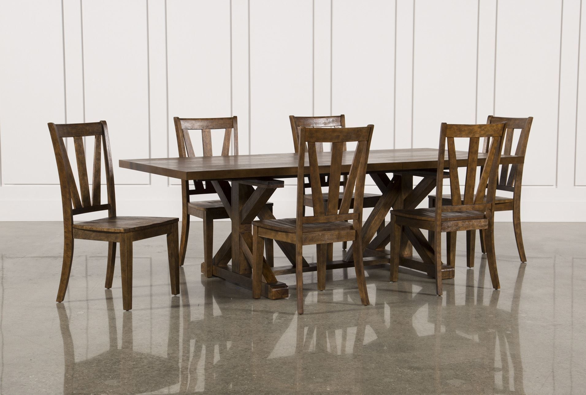 Chandler 7 Piece Extension Dining Set W/wood Side Chairs | Side Intended For Current Caden 6 Piece Rectangle Dining Sets (Image 5 of 20)
