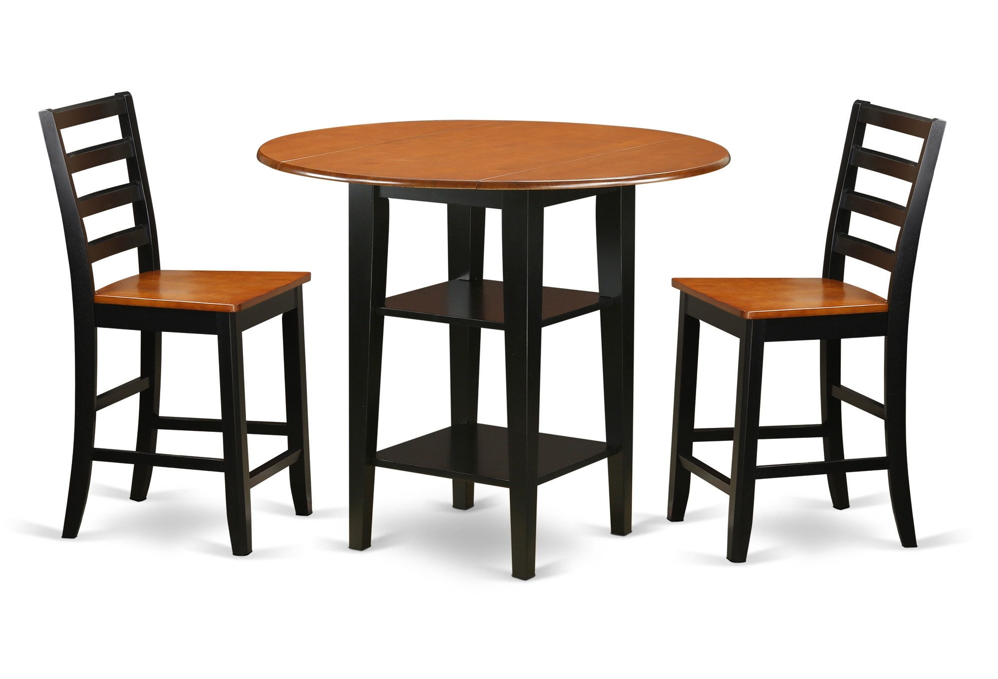 Charlton Home Tyshawn Counter Height 3 Piece Pub Table Set | Wayfair With Newest Jaxon 5 Piece Extension Counter Sets With Fabric Stools (Photo 19 of 20)