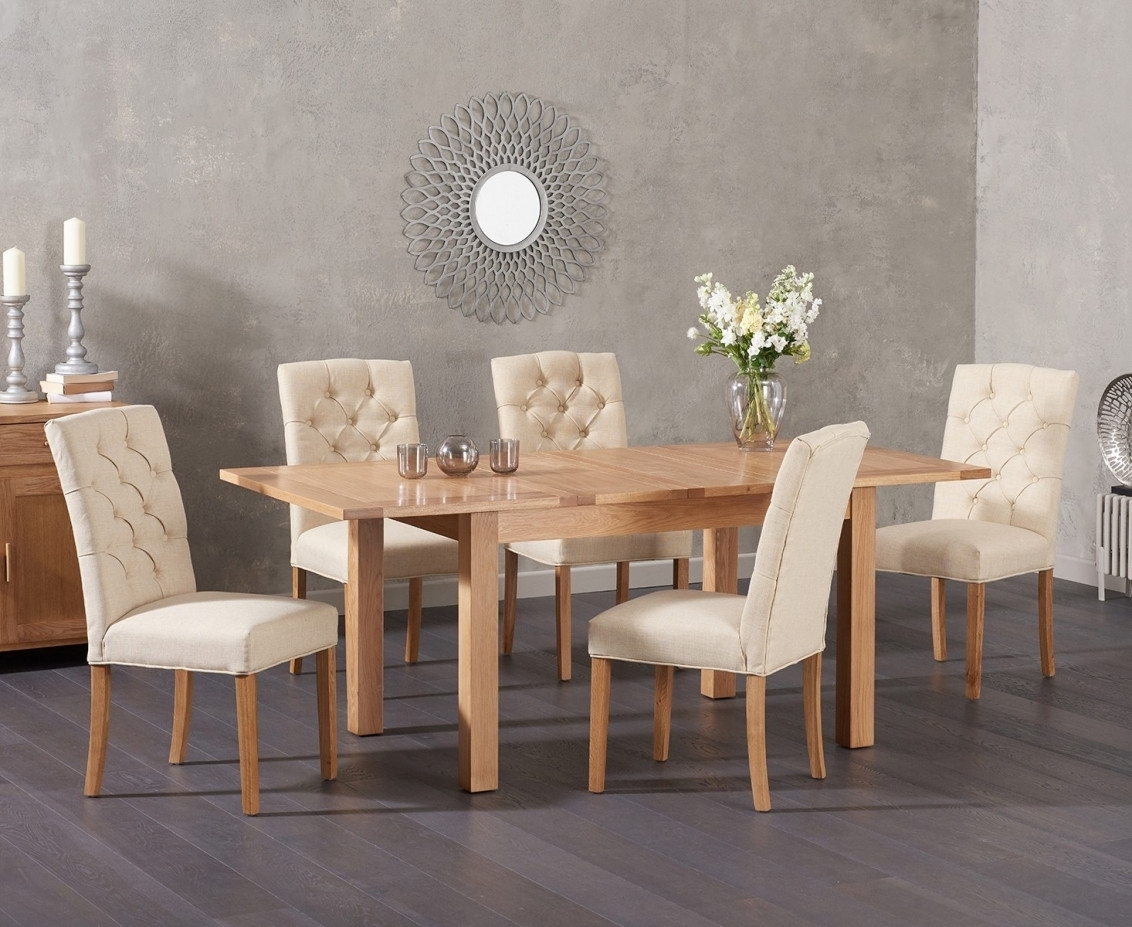 Cheadle 120Cm Oak Extending Dining Table With Candice Fabric Chairs With Latest Candice Ii 6 Piece Extension Rectangle Dining Sets (View 7 of 20)