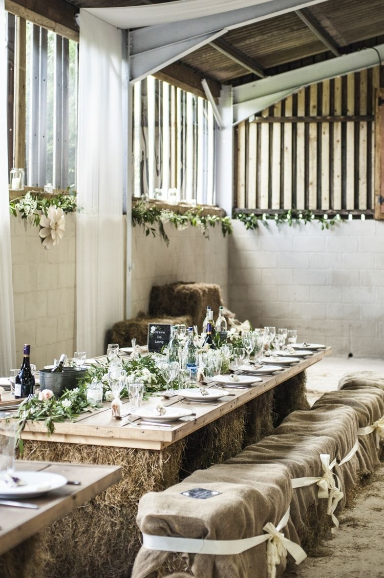 Chilled Country Boho White & Green Wedding | Hessian | Pinterest Intended For Current Bale Rustic Grey Dining Tables (Image 8 of 20)
