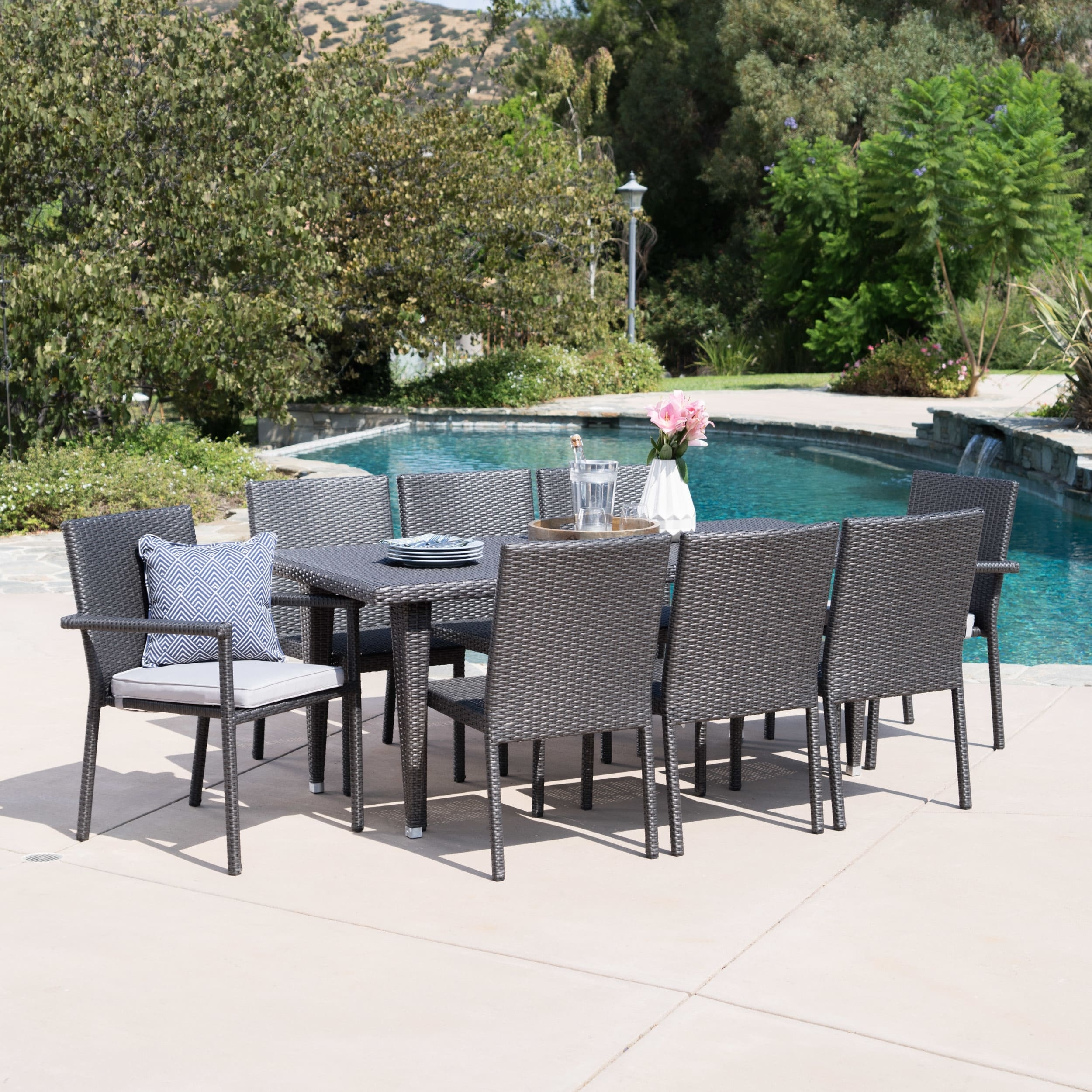 Christopher Knight Home Grady Outdoor 9 Piece Rectangular Wicker Regarding Most Recent Grady Round Dining Tables (View 19 of 20)