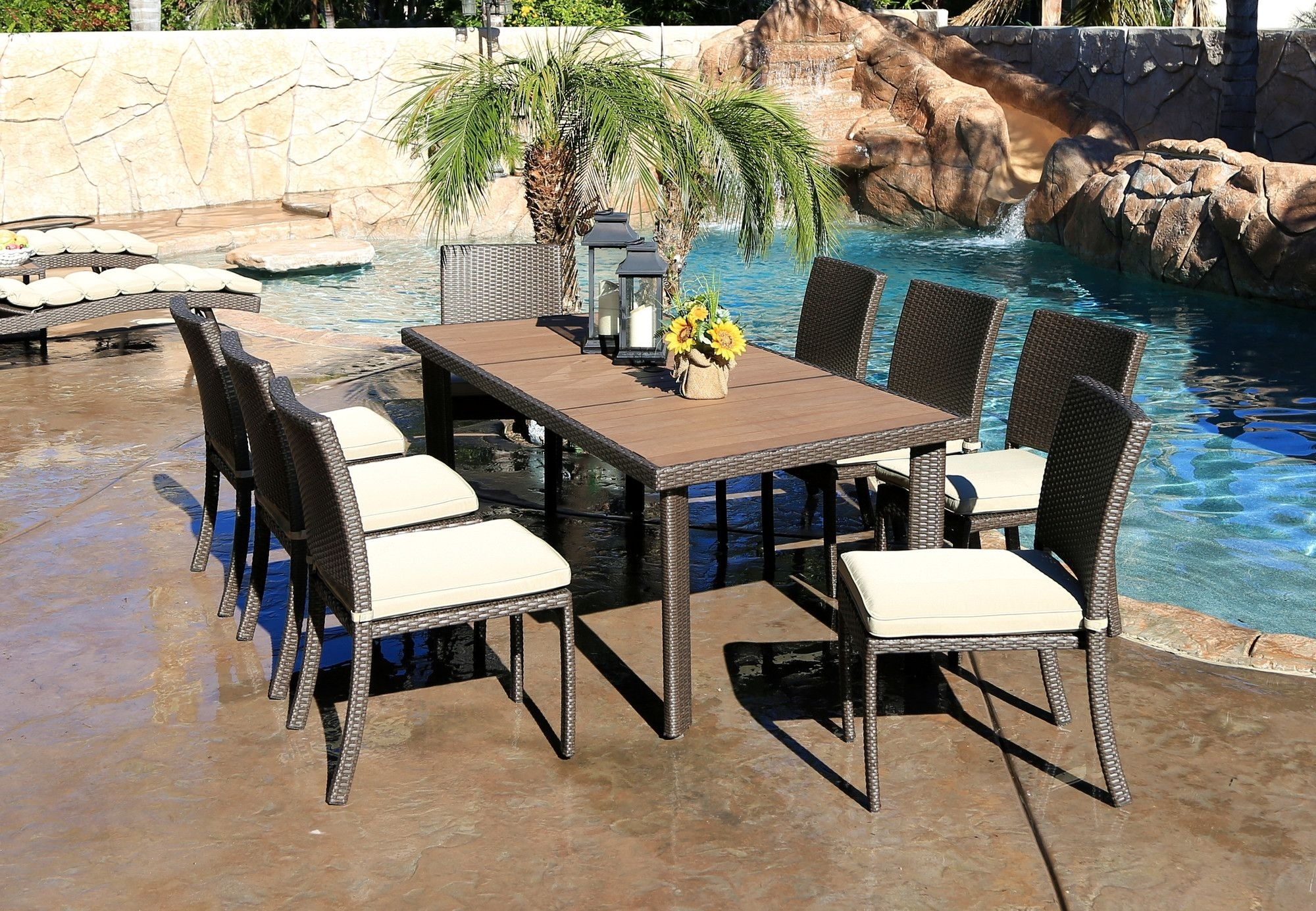 Cicero 9 Piece Armless Dining Set With Cushions | Dining Sets Intended For Most Current Chapleau Ii 9 Piece Extension Dining Tables With Side Chairs (Photo 11 of 20)