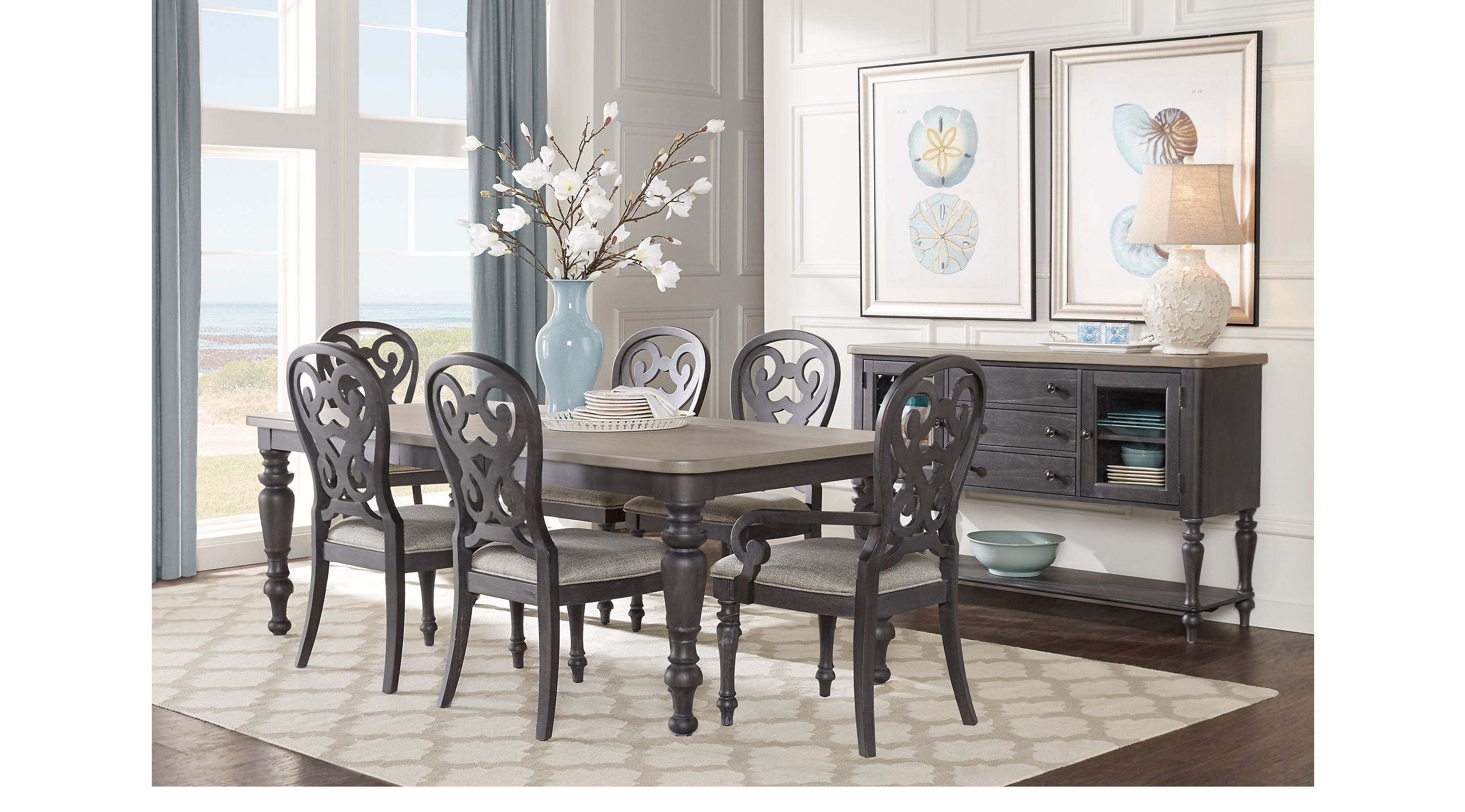 Cindy Crawford Home Coastal Breeze Charcoal 5 Pc Rectangle Dining For Most Current Crawford Rectangle Dining Tables (Photo 17 of 20)