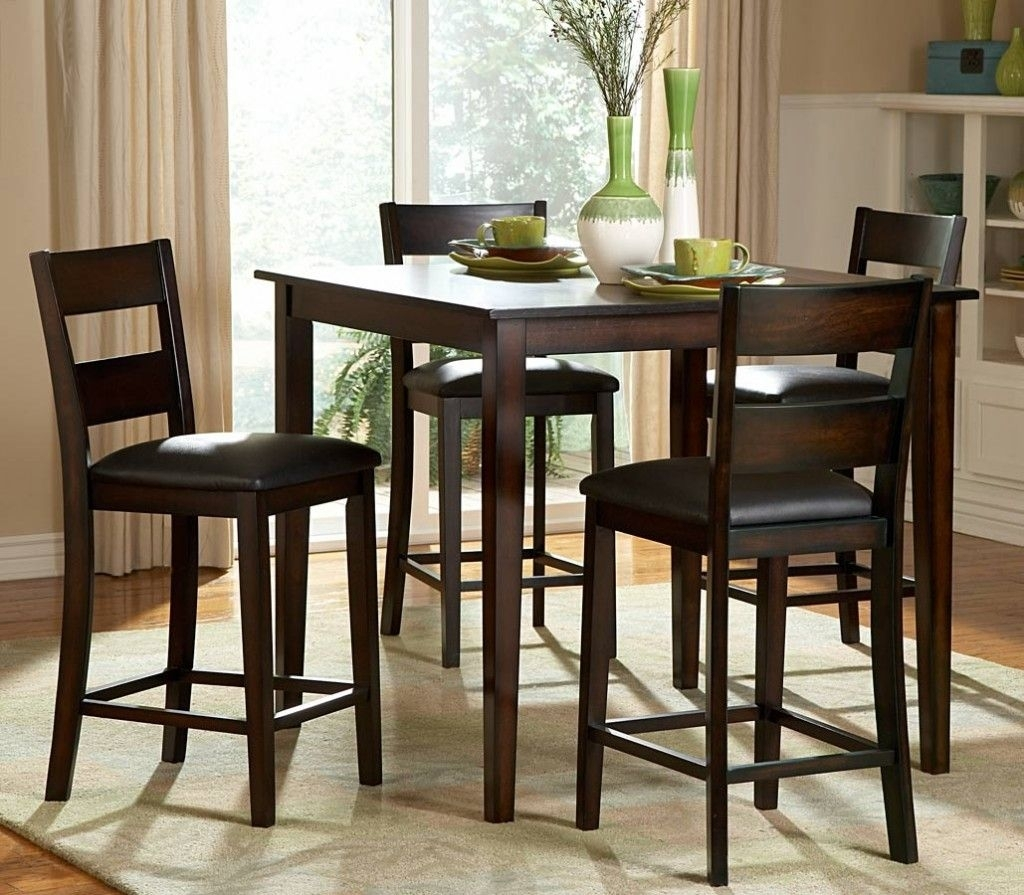 Classic Wooden Counter Height Bar Stools With Leather Pad Square Regarding Newest Palazzo 7 Piece Dining Sets With Pearson Grey Side Chairs (Image 5 of 20)