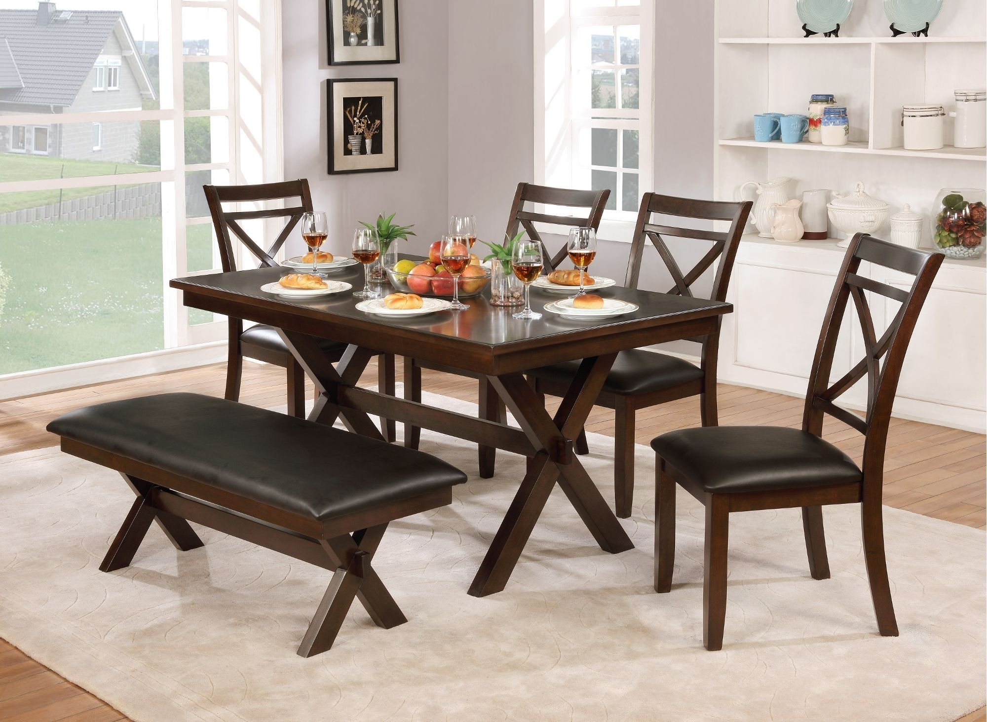 Clearance Dark Cherry Transitional 6 Piece Dining Set With Bench In Most Current Caden 5 Piece Round Dining Sets With Upholstered Side Chairs (Photo 20 of 20)