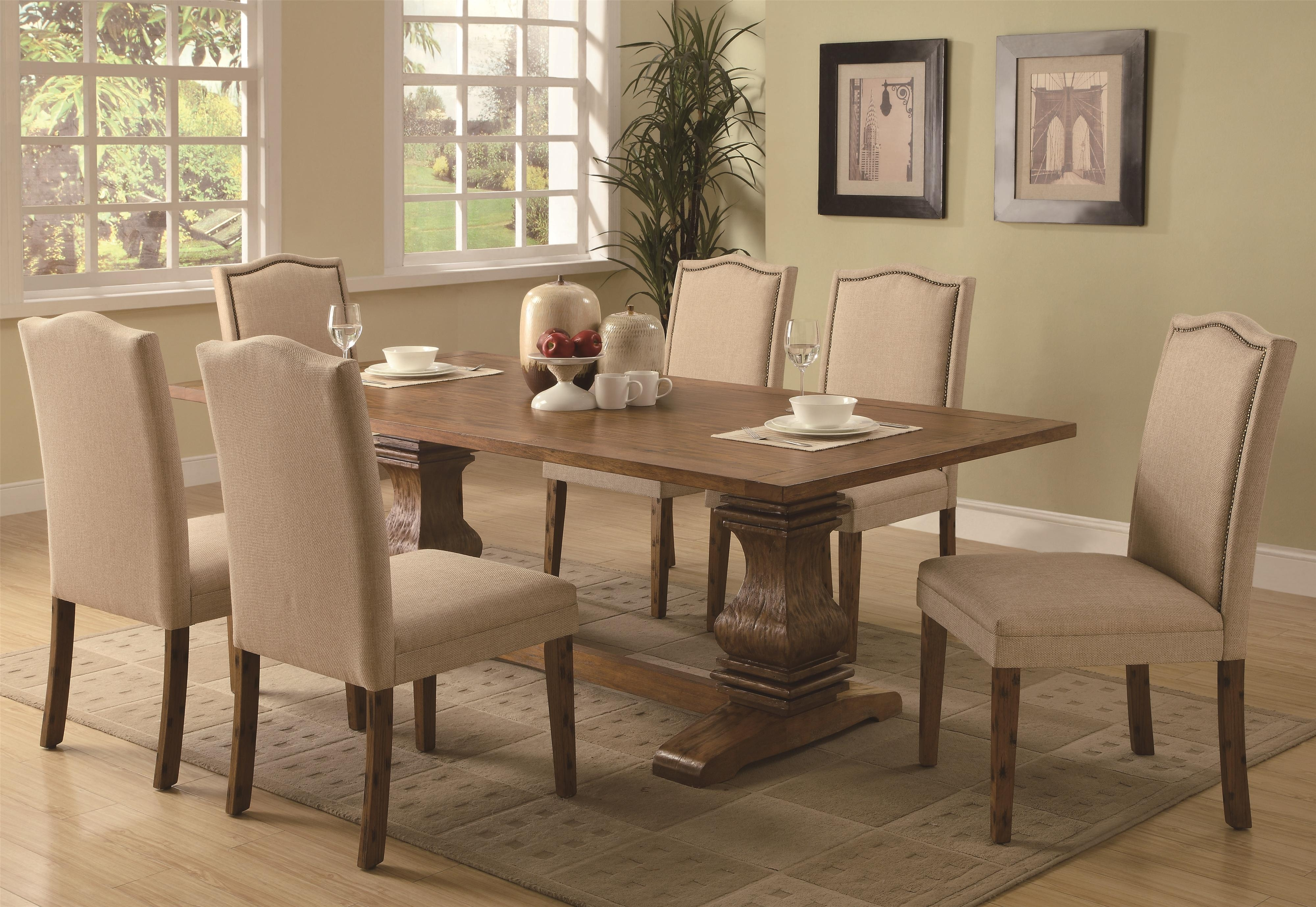 Coaster Parkins 7 Piece Dining Table And Parson Chair Set | Dunk Inside Best And Newest Magnolia Home Double Pedestal Dining Tables (Image 5 of 20)