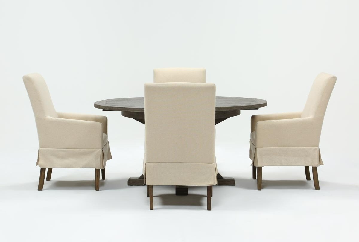 Combs 5 Piece 48 Inch Extension Dining Set With Mindy Side Chairs Regarding Most Popular Combs 7 Piece Dining Sets With  Mindy Slipcovered Chairs (Image 3 of 20)
