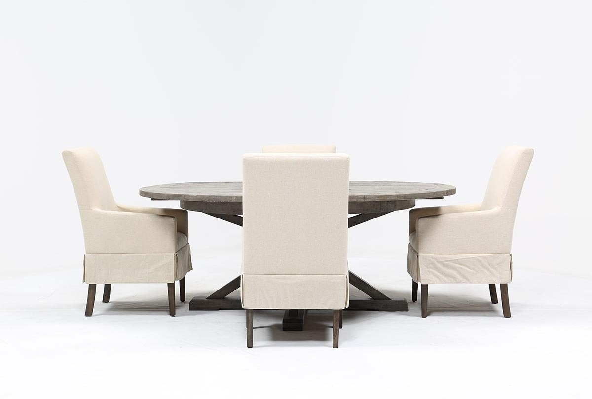 Combs 5 Piece Dining Set W/ Mindy Slipcovered Chairs | Living Spaces Inside 2017 Palazzo 6 Piece Dining Set With Mindy Slipcovered Side Chairs (Photo 5 of 20)