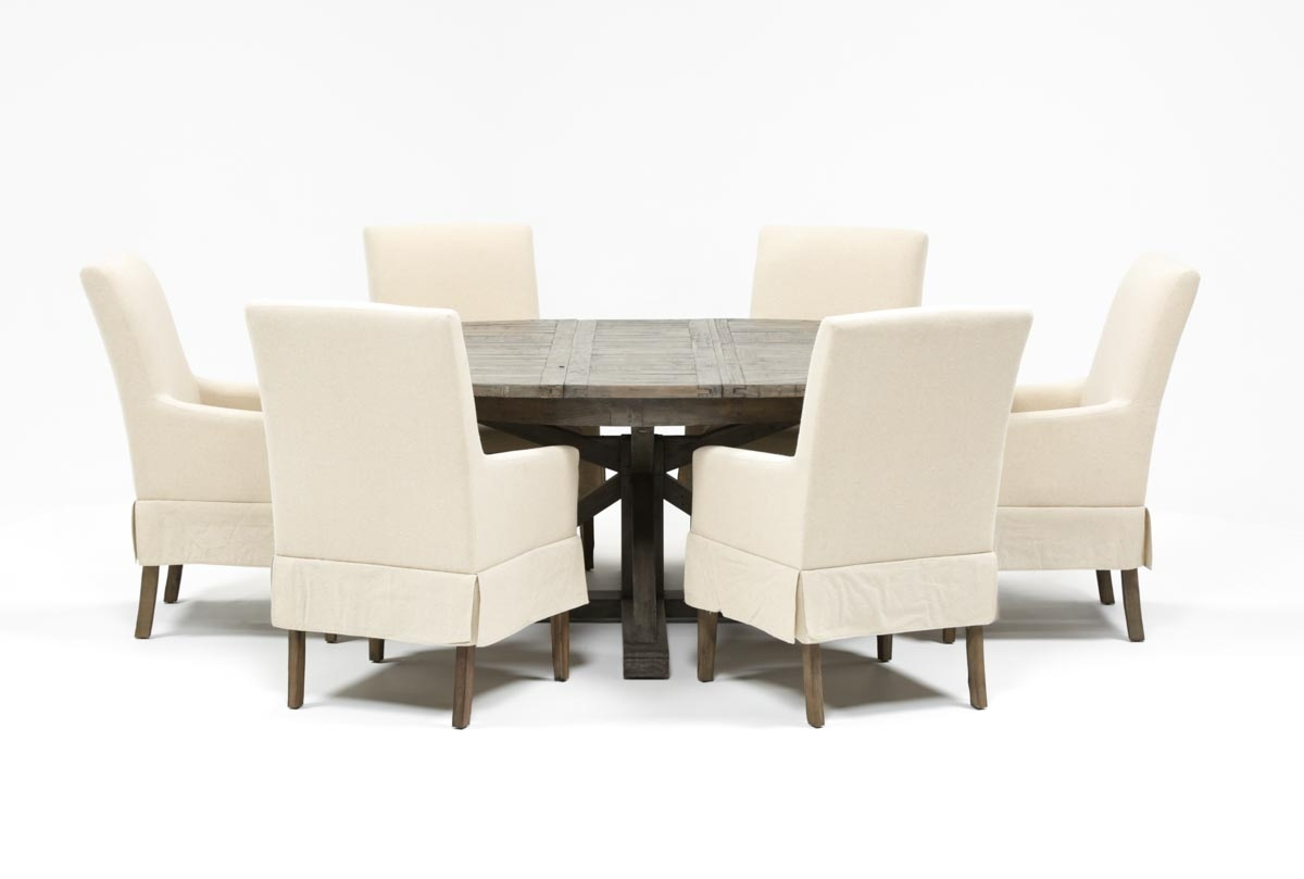 Combs 7 Piece Dining Set W/ Mindy Slipcovered Chairs | Living Spaces Pertaining To Recent Combs 7 Piece Dining Sets With  Mindy Slipcovered Chairs (Photo 1 of 20)