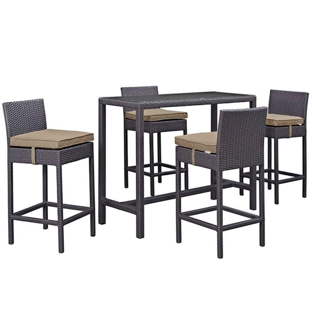 Convene 5 Piece Outdoor Patio Pub Set, Espresso Mocha Size :  (Image 8 of 20)