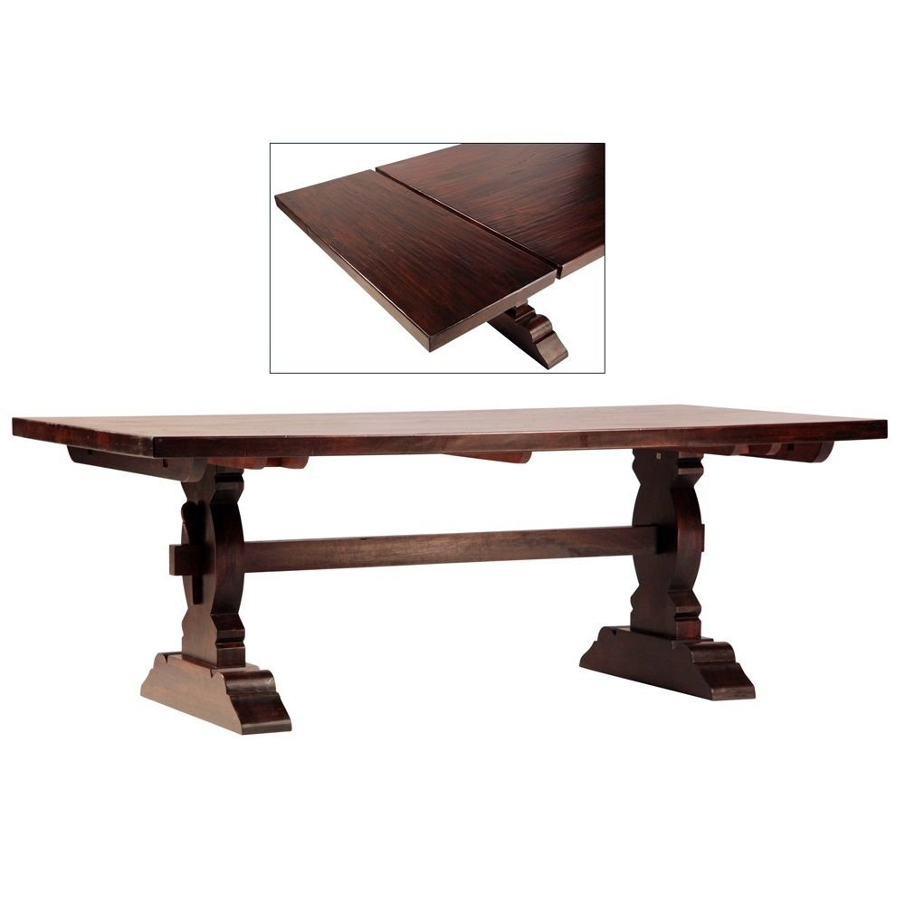 Cordoba Dark Wood Trestle Extension Dining Table 120"