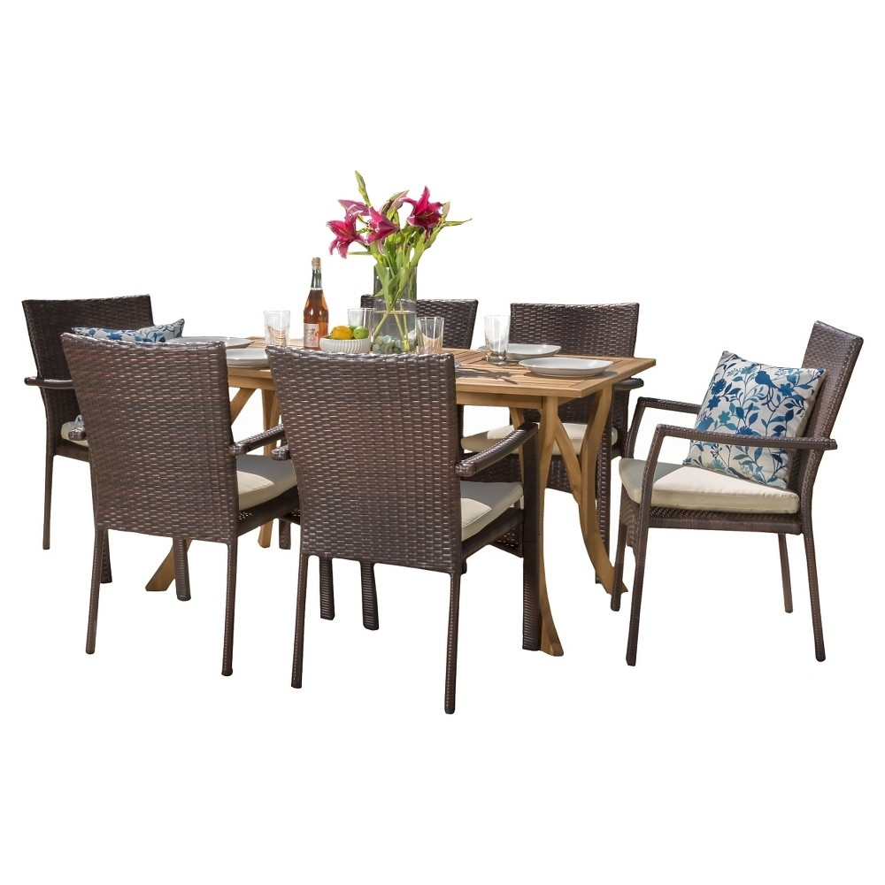 Corleone 7Pc Dining Set (Wood Table With Wicker Chairs) – Teak Inside Recent Candice Ii 7 Piece Extension Rectangle Dining Sets (Photo 19 of 20)