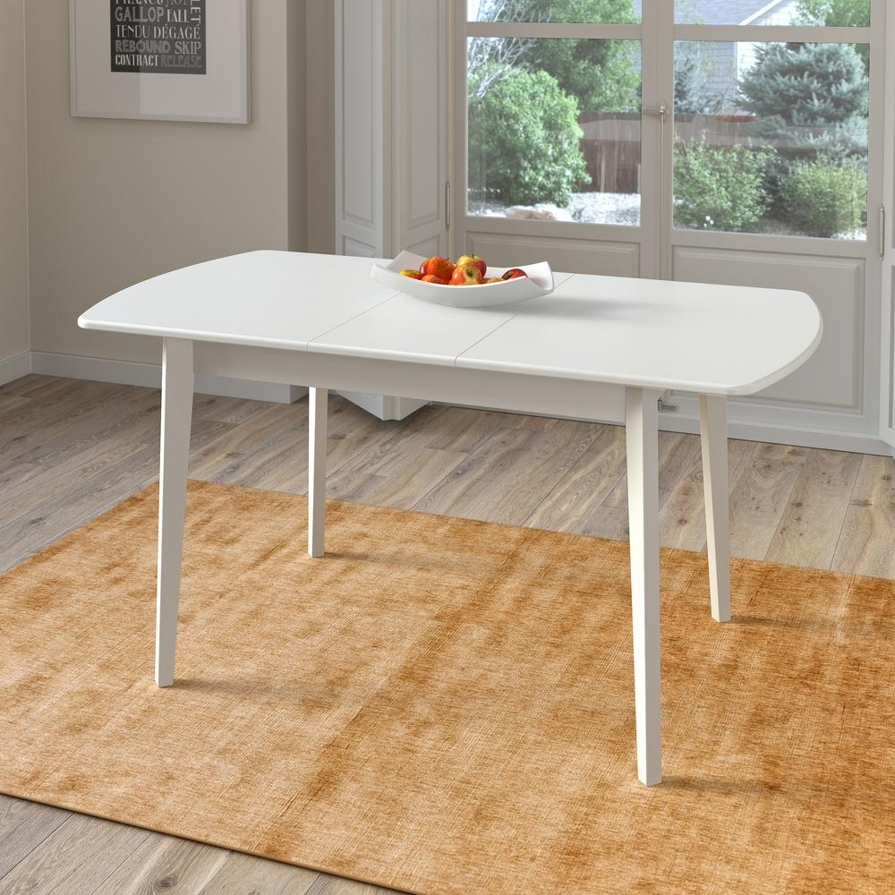 Corliving Dillon White Wood Extendable Oblong Dining Table Dsh 610 T Throughout Most Current Craftsman Rectangle Extension Dining Tables (Image 10 of 20)