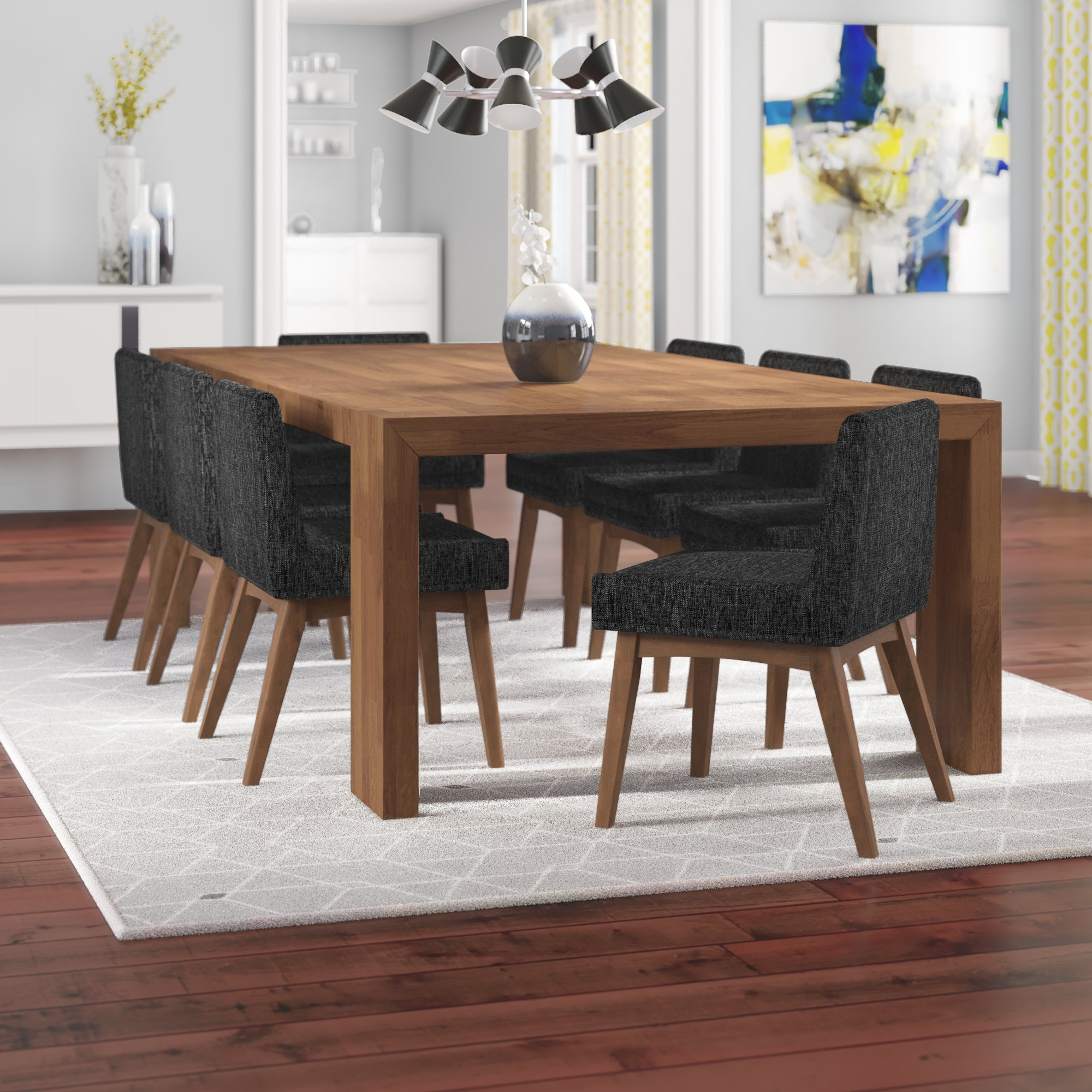 Corrigan Studio Crume 9 Piece Dining Set | Wayfair In Most Current Caira 9 Piece Extension Dining Sets (Image 13 of 20)