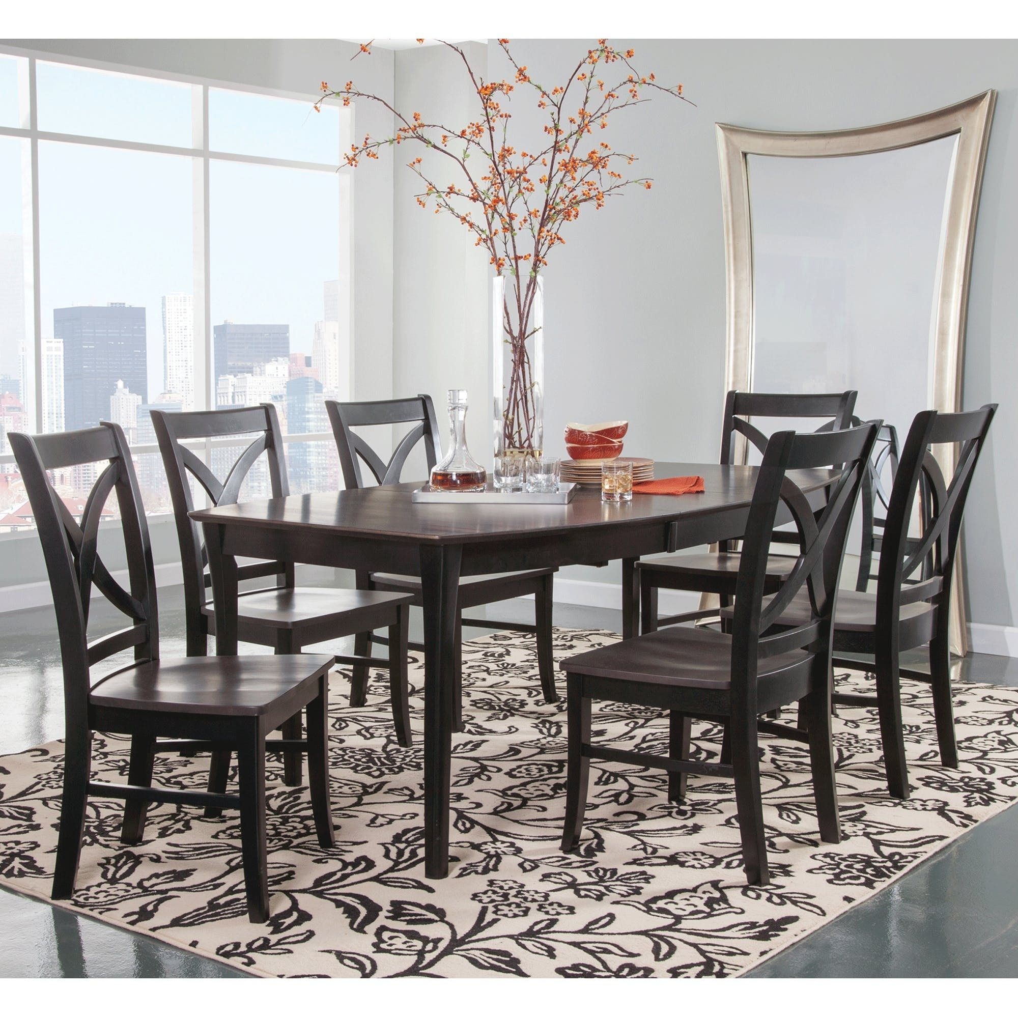 Cosmopolitan Coal/black Dining Room 7 Piece Set – Butterfly Leaf Leg Throughout Most Recently Released Craftsman 7 Piece Rectangle Extension Dining Sets With Side Chairs (Image 9 of 20)