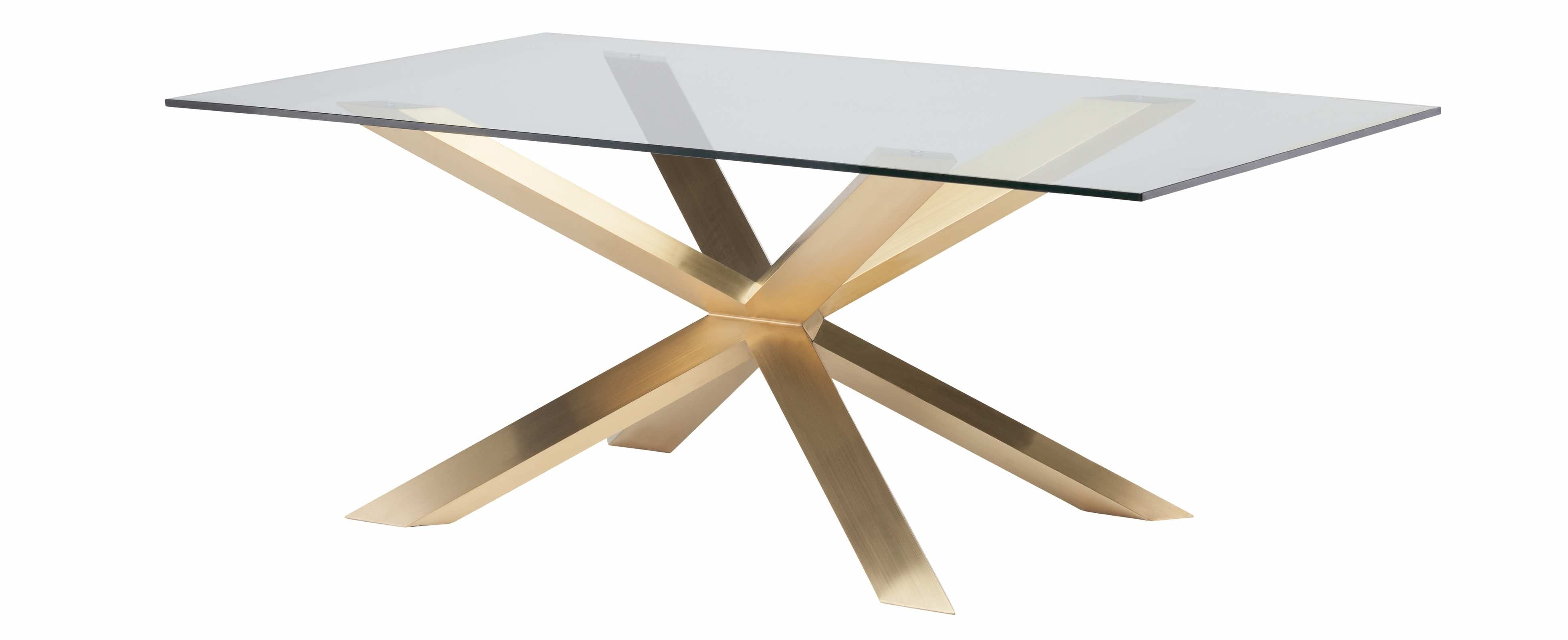 Couture 78 Inch Dining Table In Brushed Gold Stainless Steel And Glass With Most Popular Portland 78 Inch Dining Tables (Photo 11 of 20)